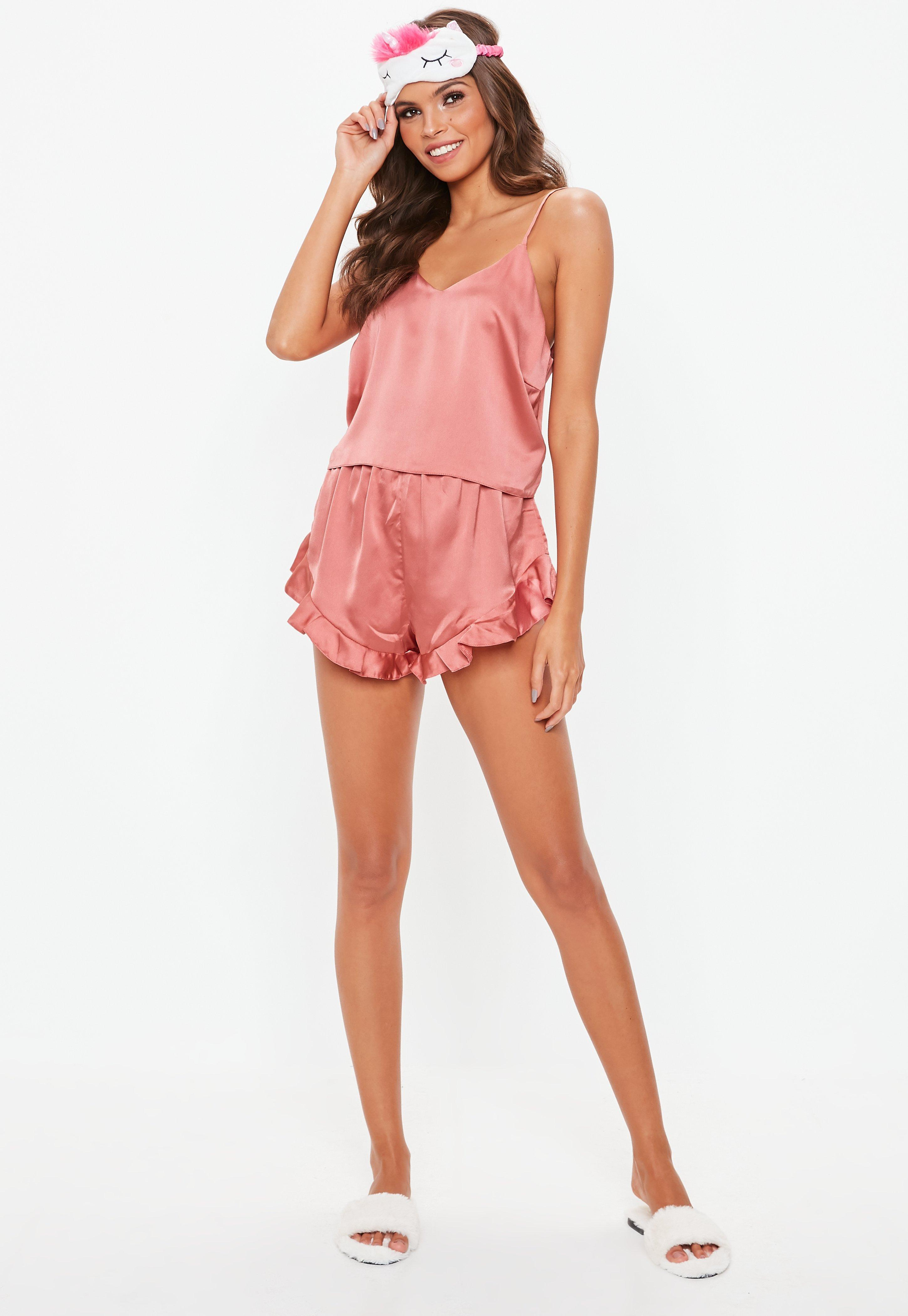 22a3930d739f Missguided - Pink Satin Cami Frill Short Pyjama Set - Lyst. View fullscreen