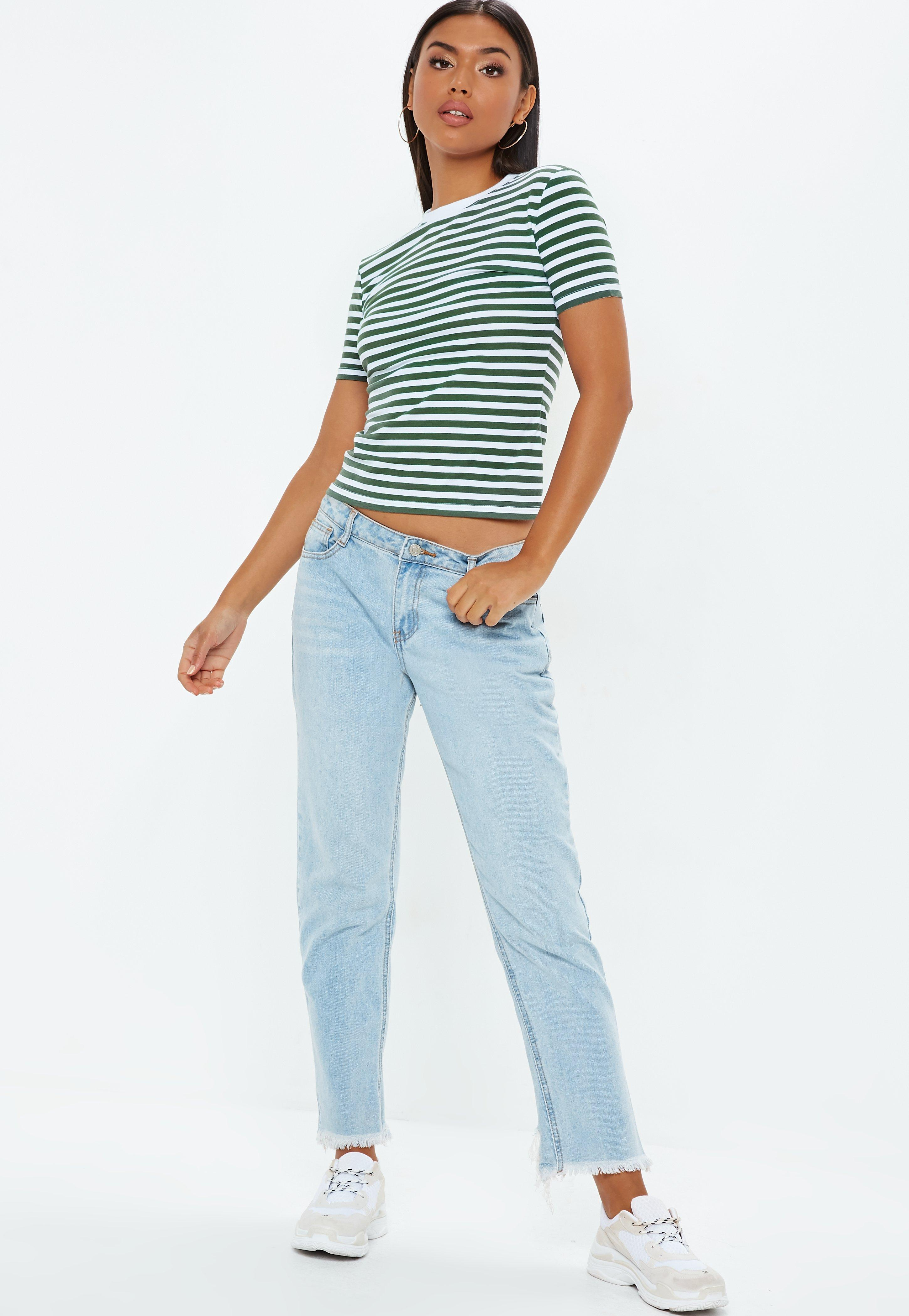 c0bbc8a0f916 Lyst - Missguided Green Striped Fitted T Shirt in Green