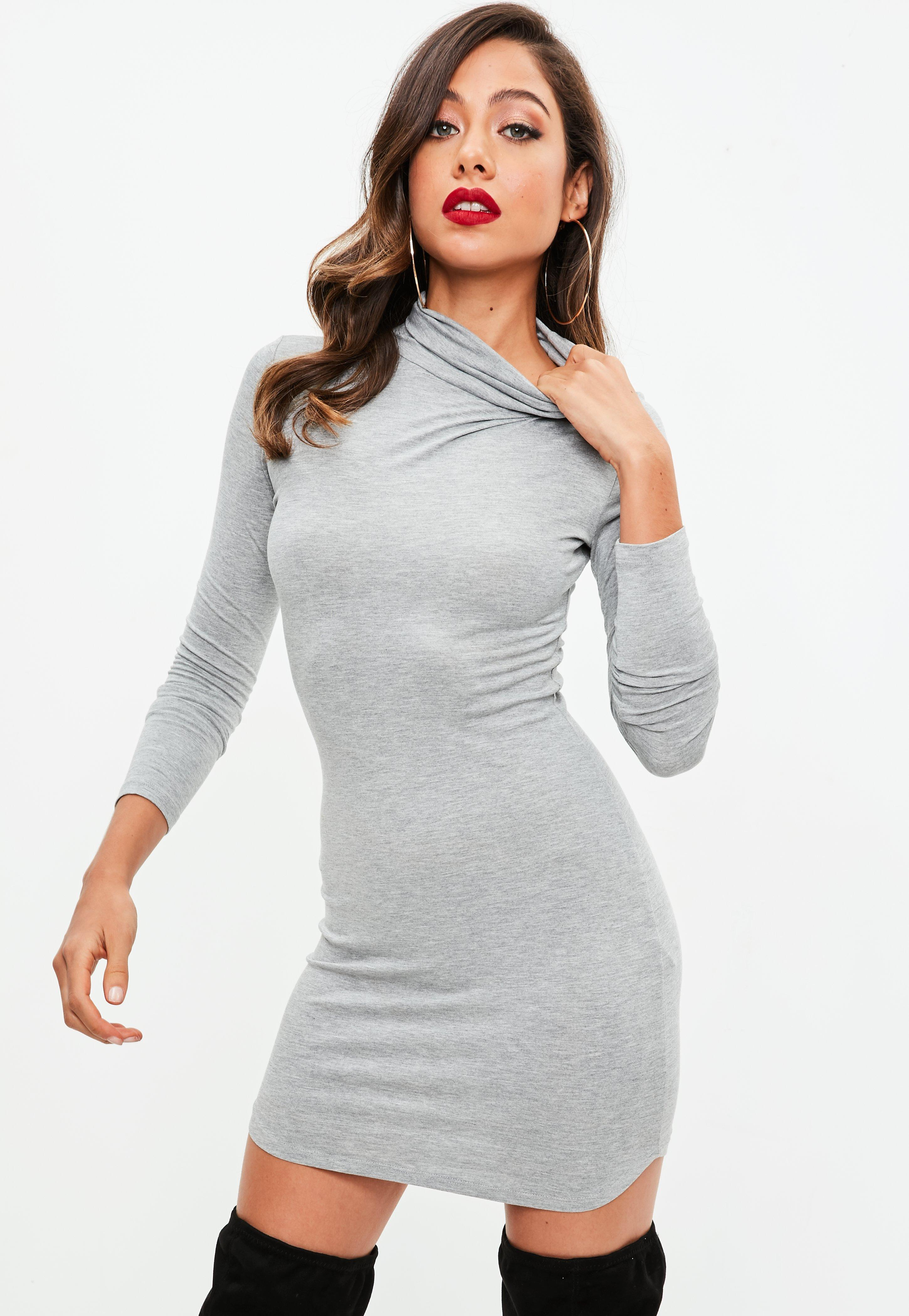 Missguided Grey Roll Neck Long Sleeve Curve Hem Bodycon Dress in ... 271d41ebf