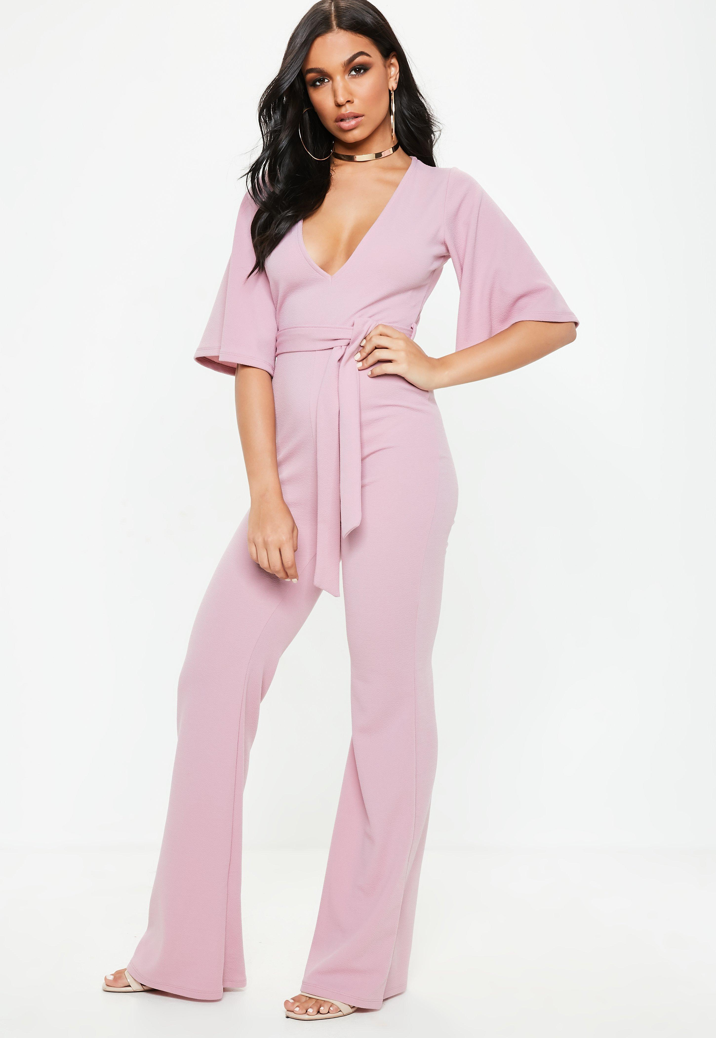 46d9247ea406 Lyst - Missguided Lilac Plunge Kimono Sleeve Jumpsuit in Purple