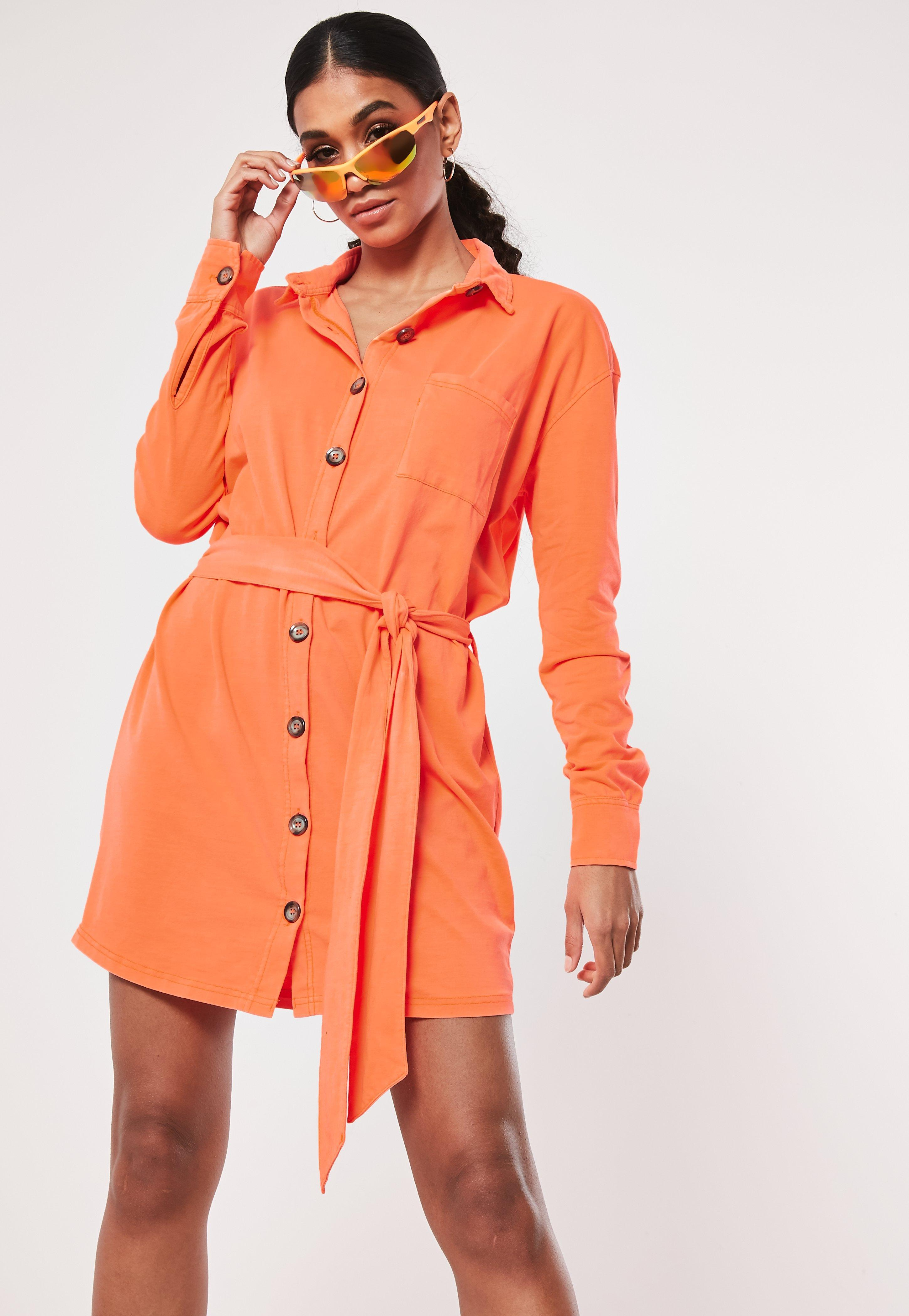9f91b869e2 Lyst - Missguided Neon Orange Jersey Tie Waist Utility Shirt Dress ...