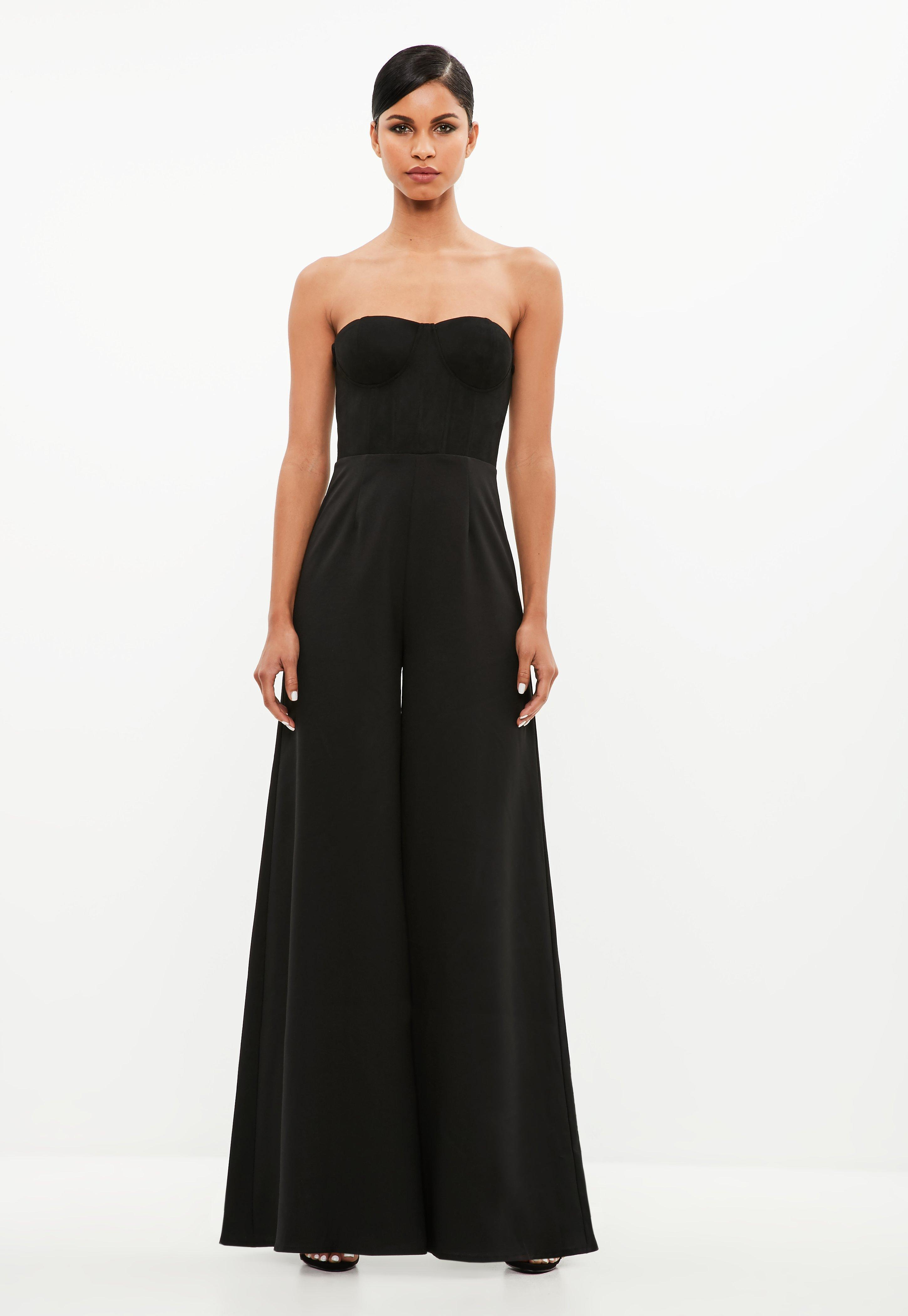 1d1176d24983 Missguided Peace + Love Black Faux Suede Cup Top Jumpsuit in Black ...