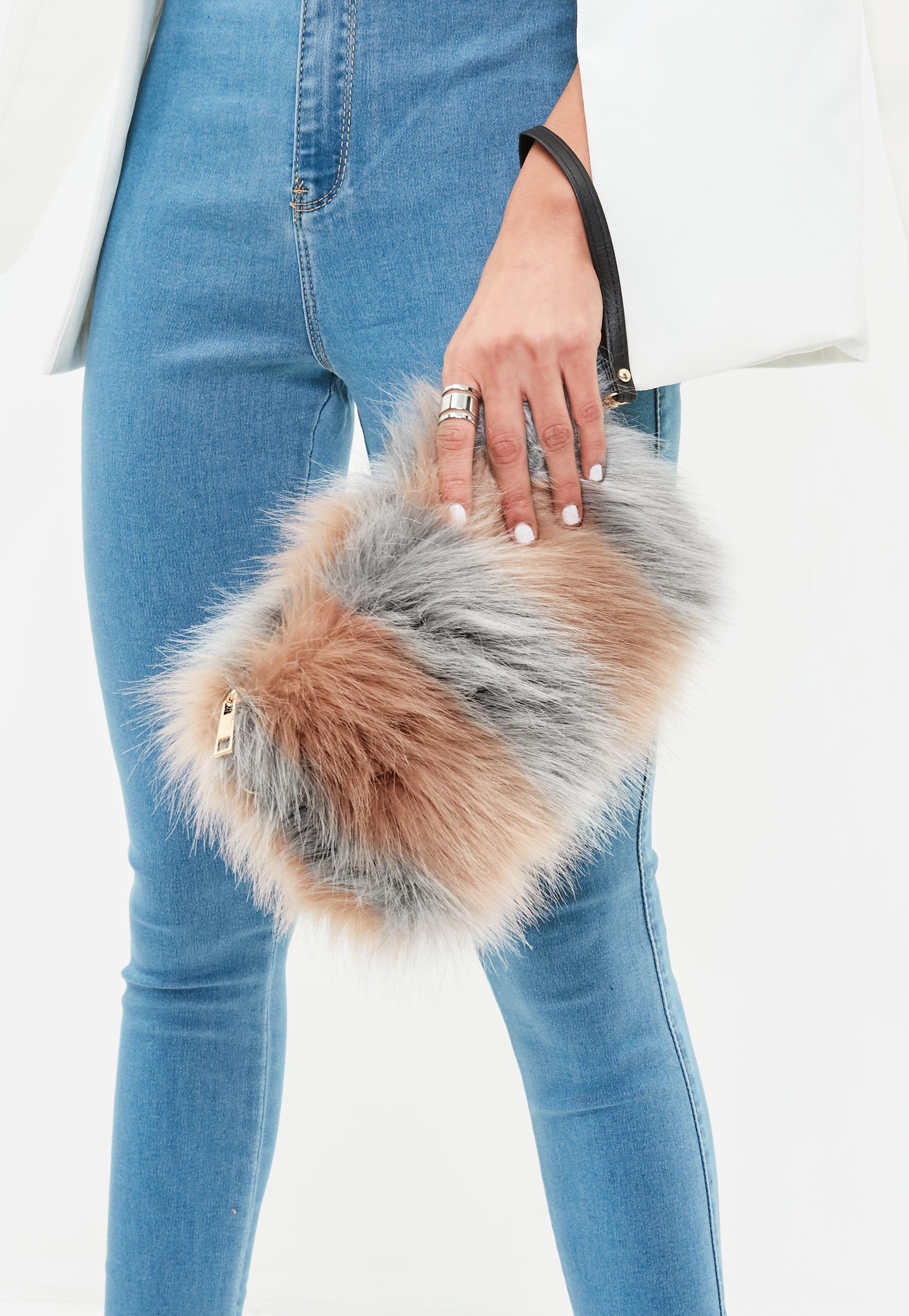 Lyst - Missguided Pink Fluffy Clutch Bag in Pink 38af7bdfef