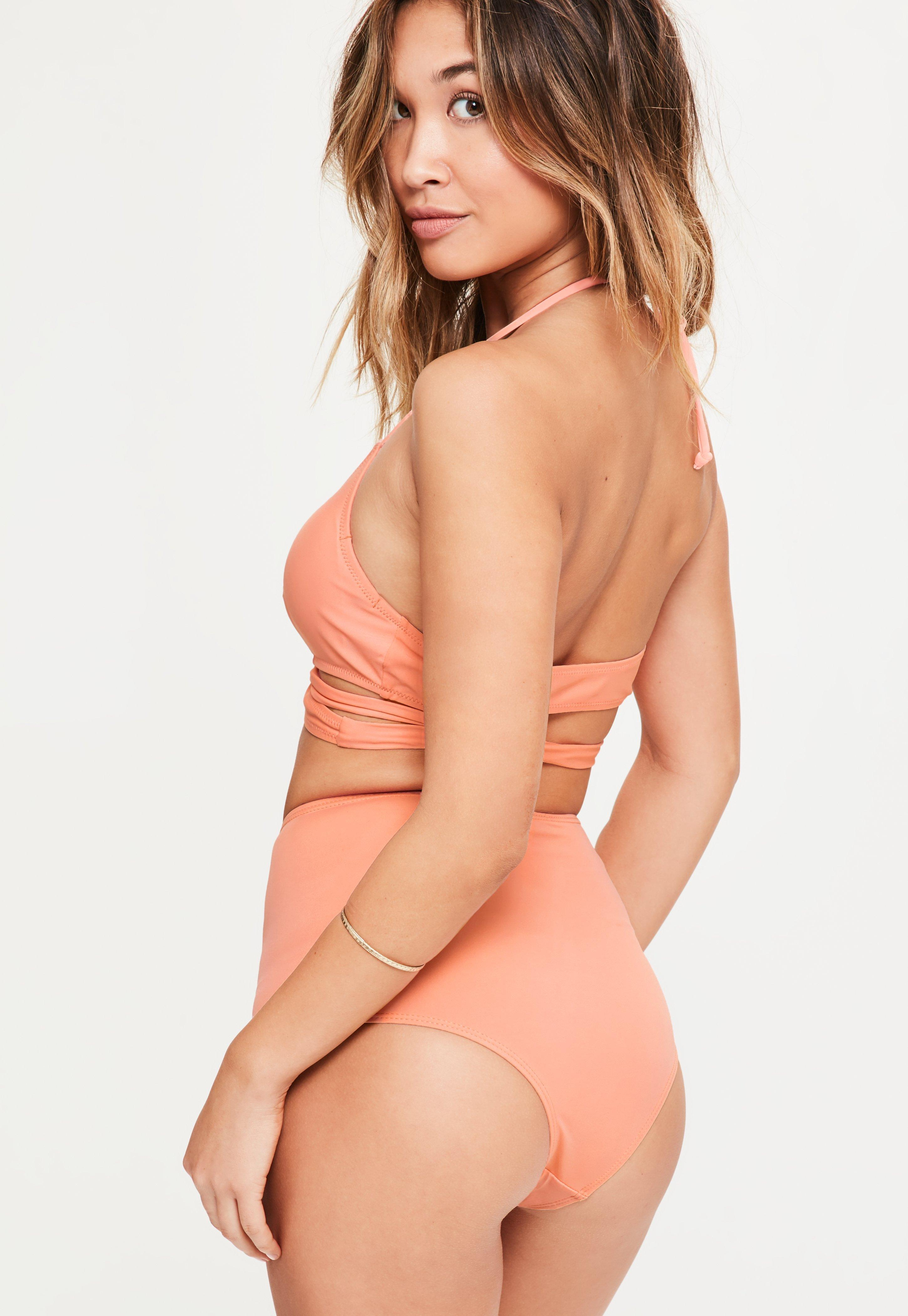 7690be08c9431 Missguided Peach High Waisted Bikini Bottoms - Mix & Match in Orange ...