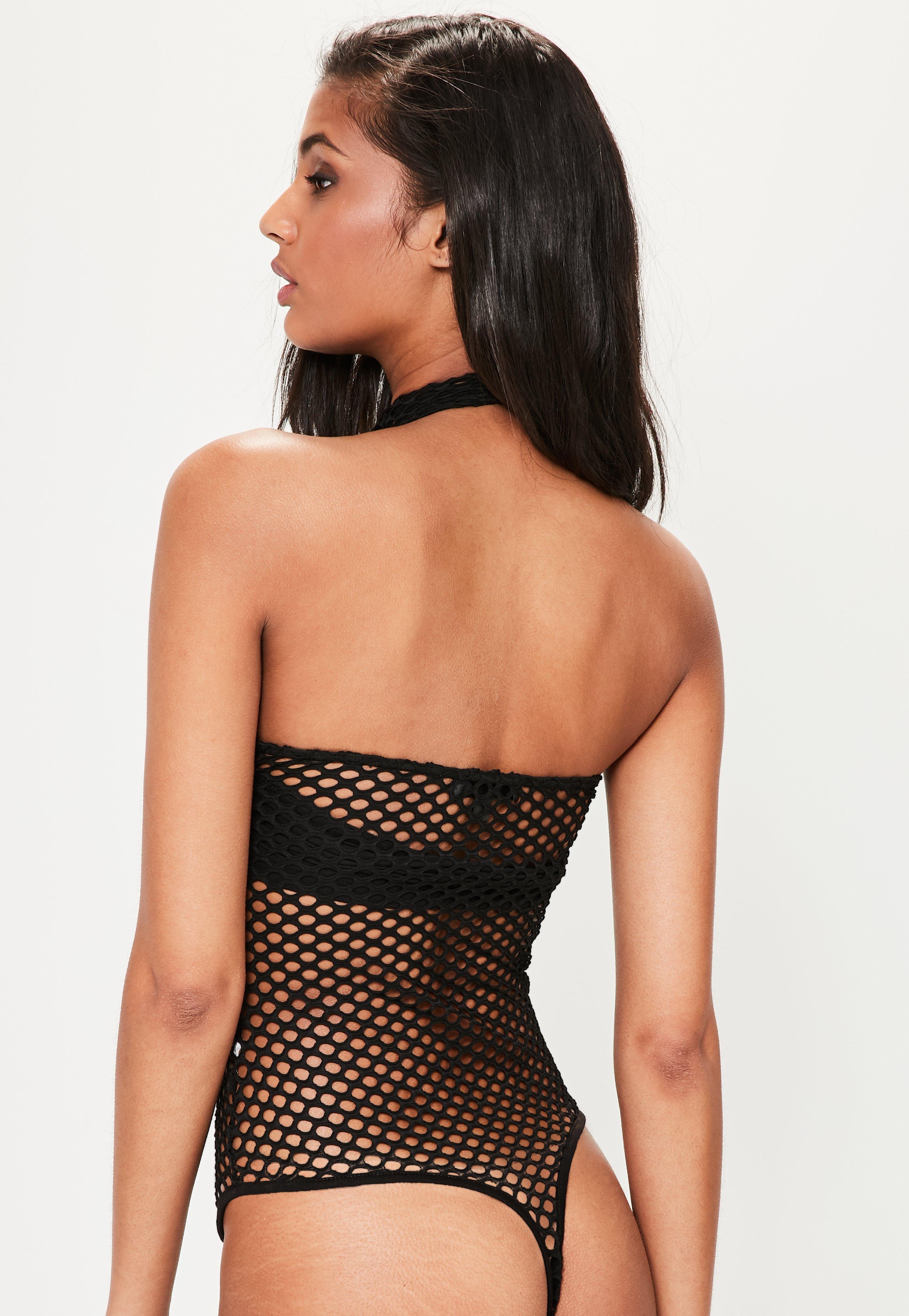 1d042d123e5 Lyst - Missguided Black Fishnet Zip Detail High Neck Bodysuit in Black