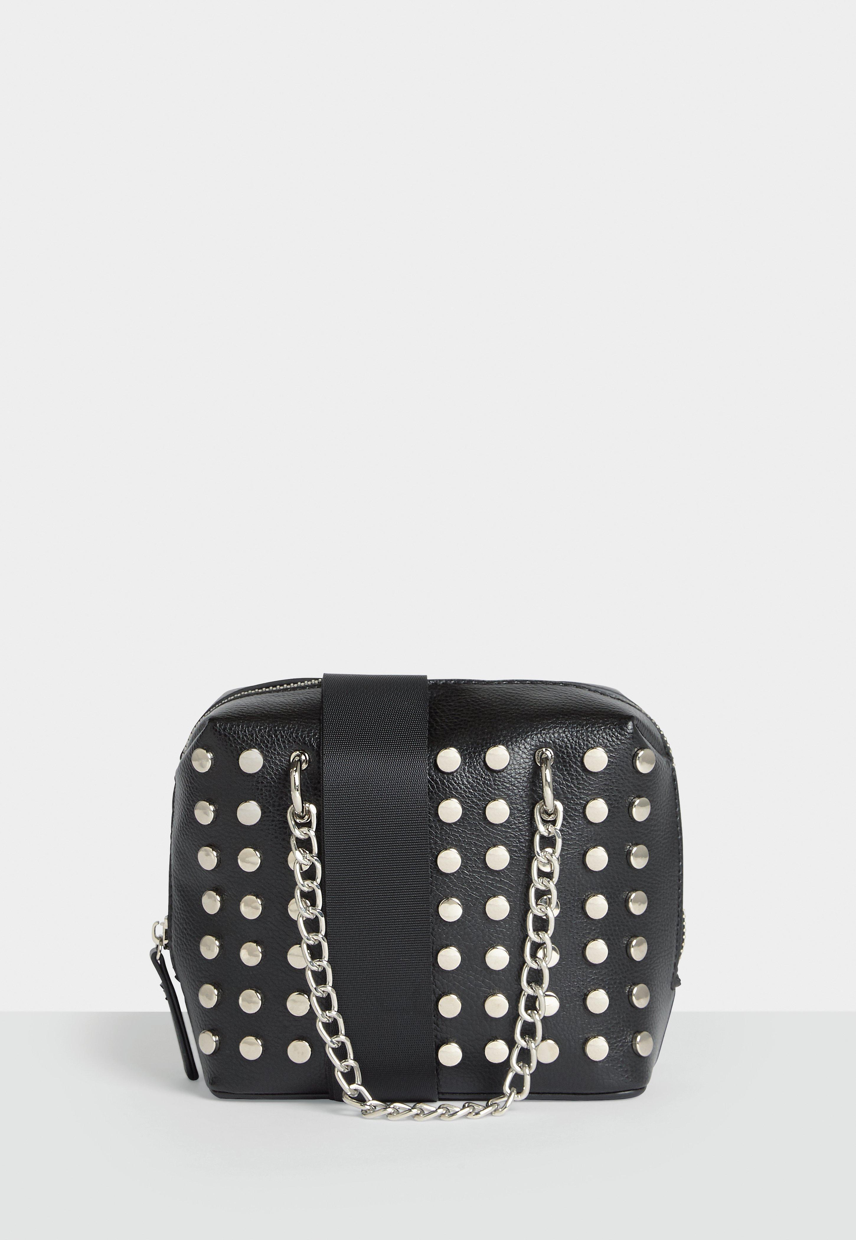 e8701dabf9 Lyst - Missguided Black Faux Leather Studded Cross Body Bag in Black