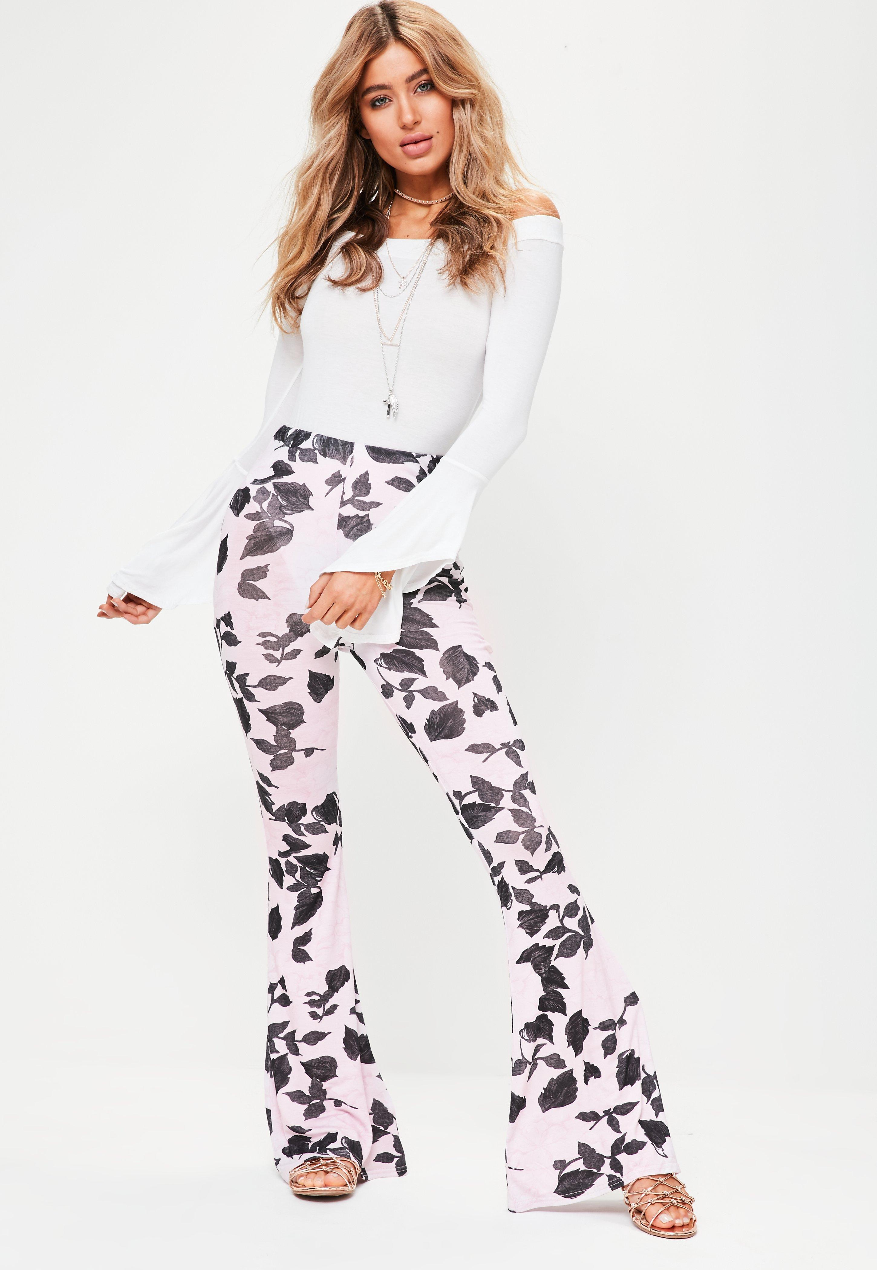 Missguided Floral Mesh Kick Flared Trousers Buy Cheap Manchester Cheap Footlocker NJ7H8xqx