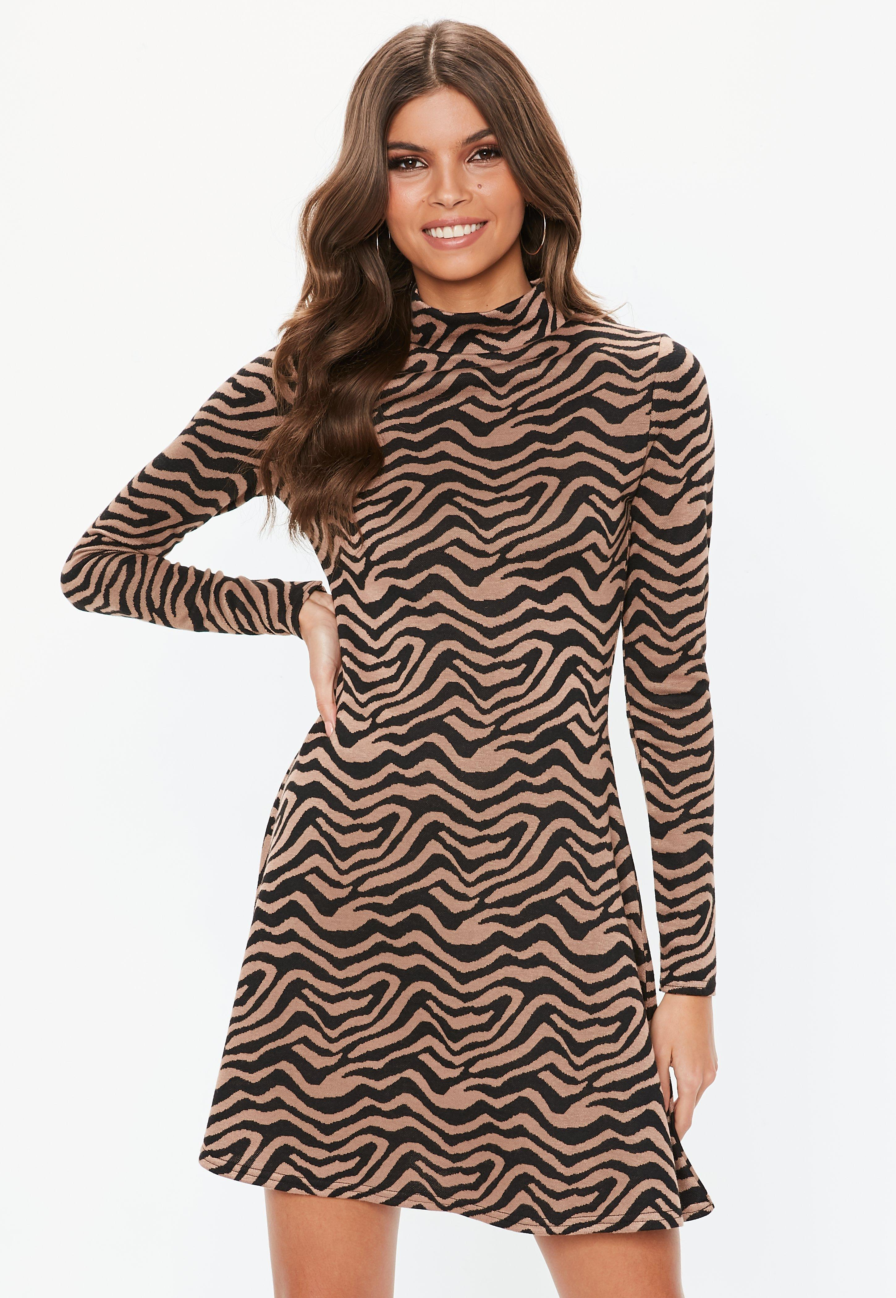 6c0149a9070 Lyst - Missguided Brown Animal Print Sweater Dress in Brown
