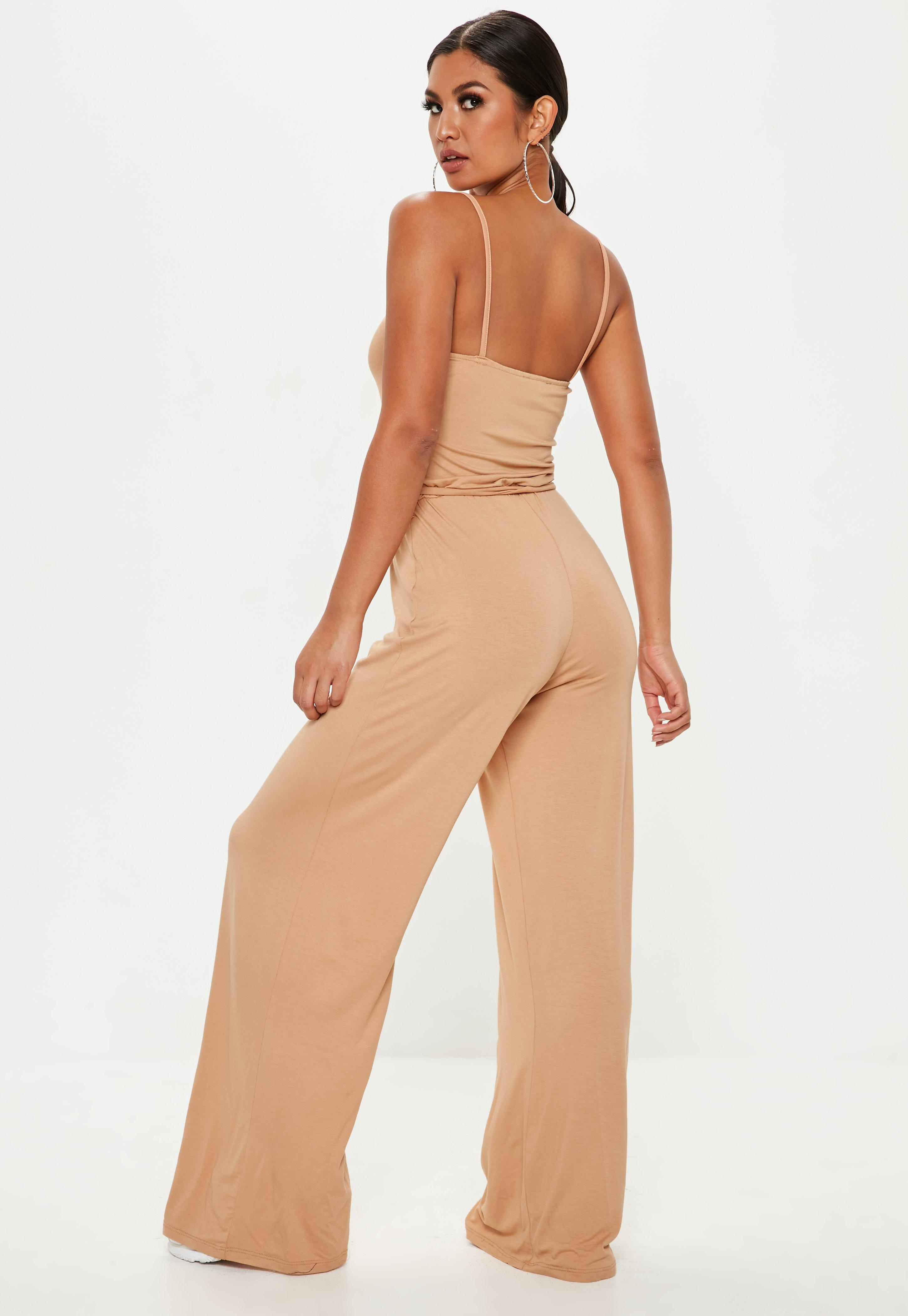 6672ce9c7fa Lyst - Missguided Nude Slouch Cami Wide Leg Jumpsuit in Natural