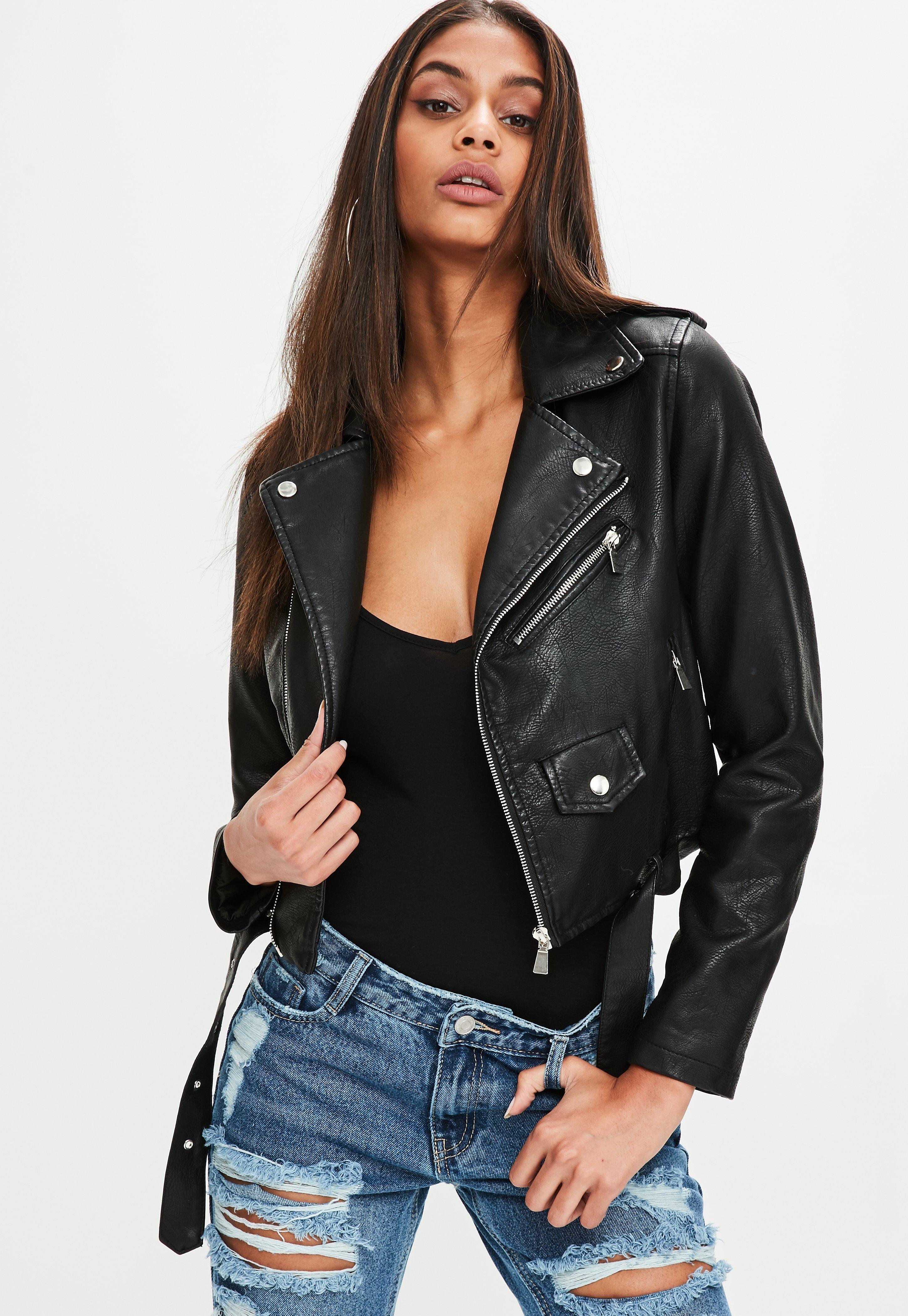 lyst missguided black faux leather jacket in black. Black Bedroom Furniture Sets. Home Design Ideas