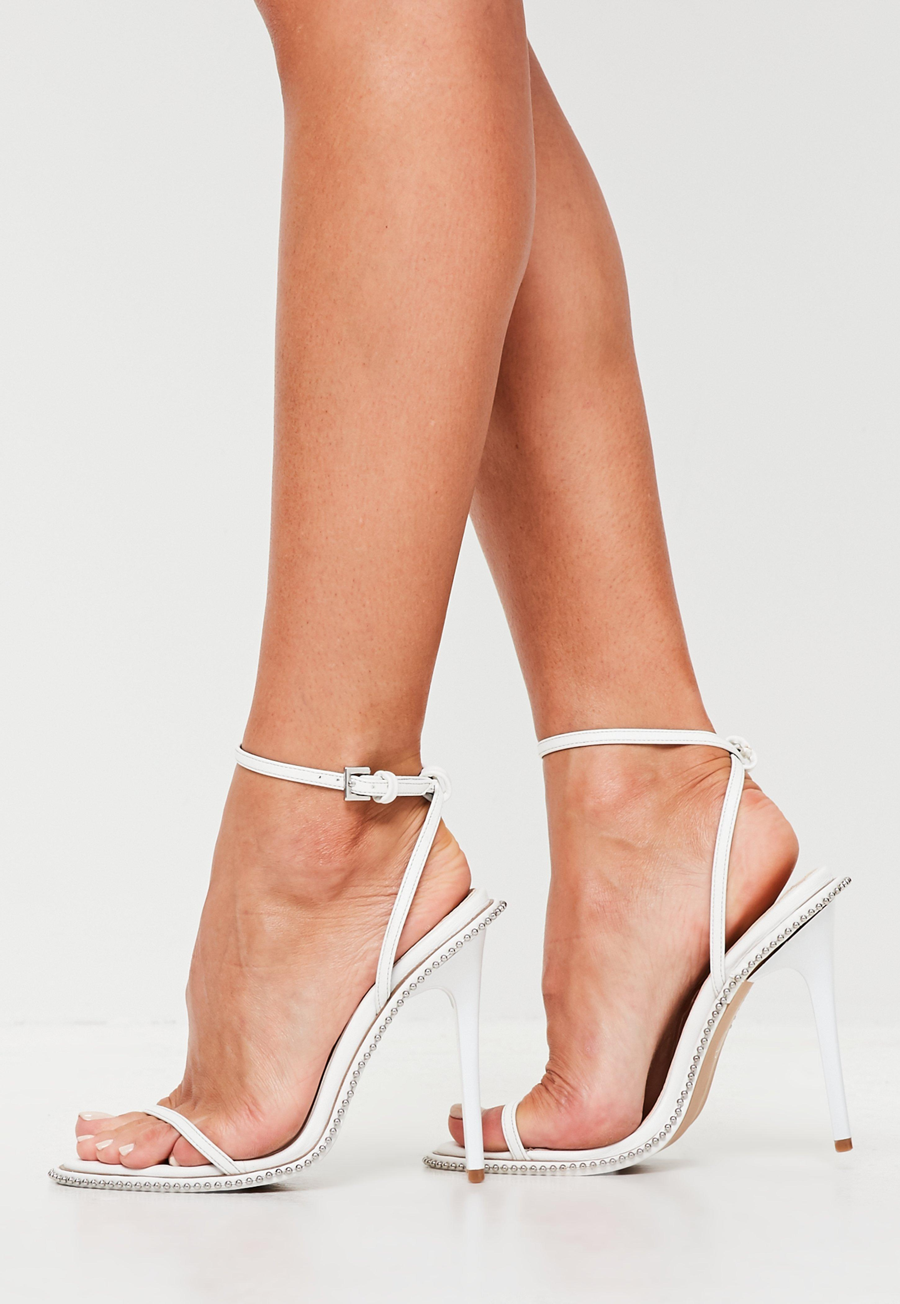 44ba010aa18 Lyst - Missguided White Chain Barely There Heels in White