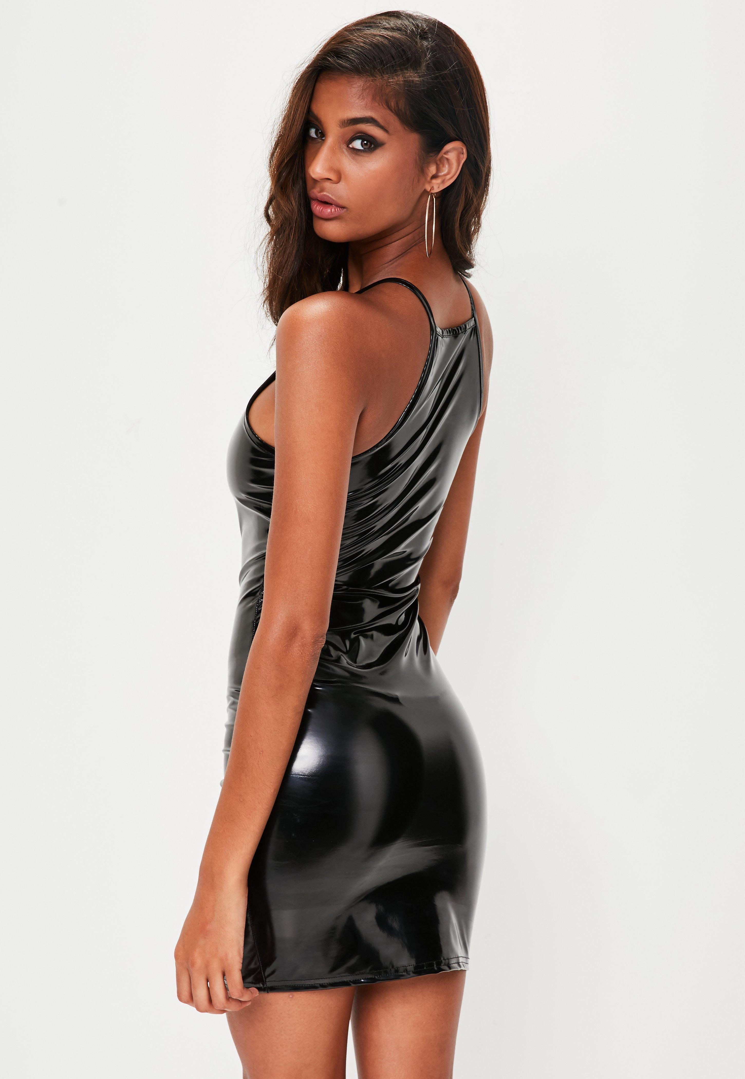 Missguided velvet racer high neck midi dress black in black lyst - Missguided Black Vinyl Bodycon Dress Lyst View Fullscreen