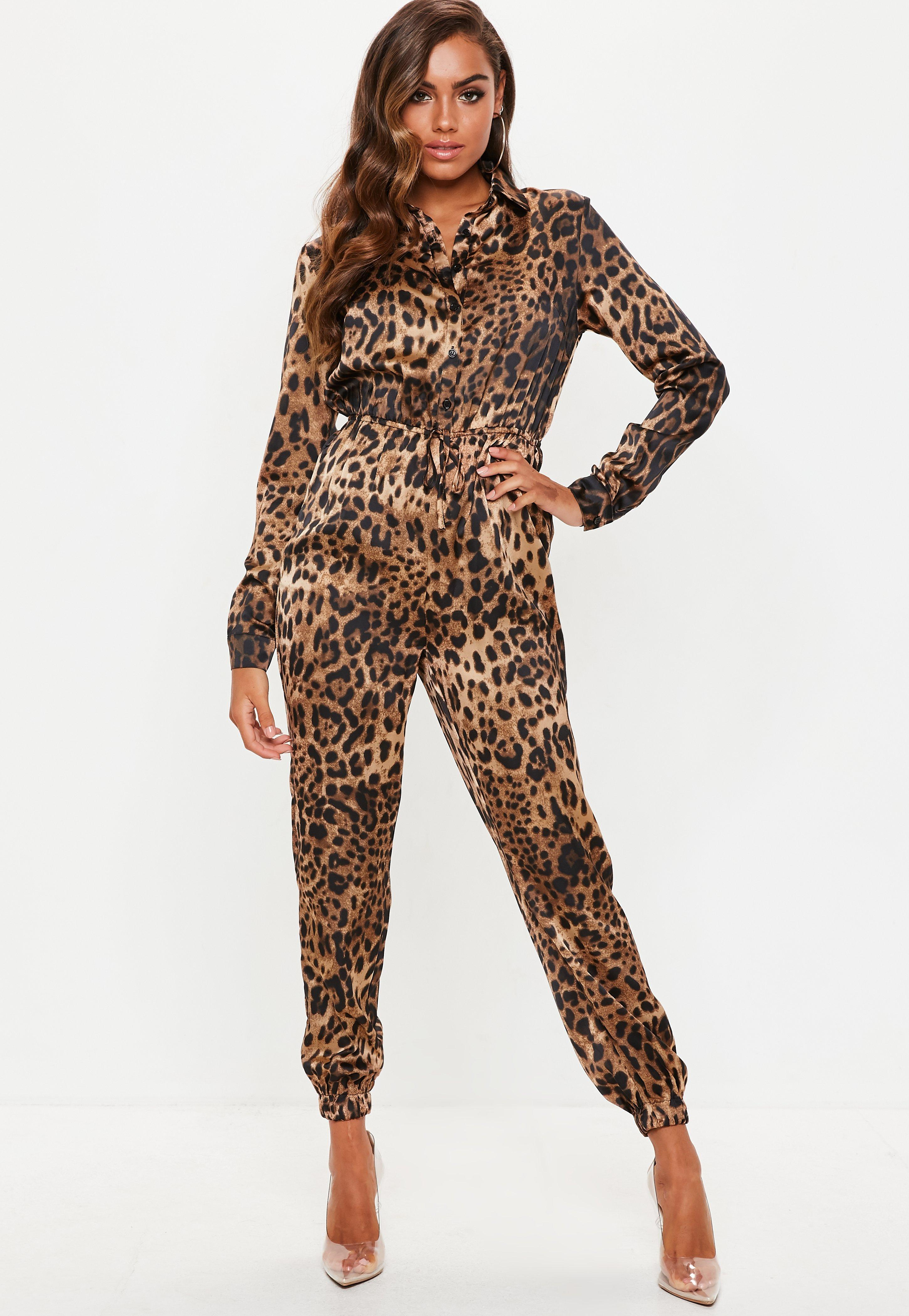 67671dbdb3e Lyst - Missguided Leopard Print Long Sleeve Utility Jumpsuit in Brown
