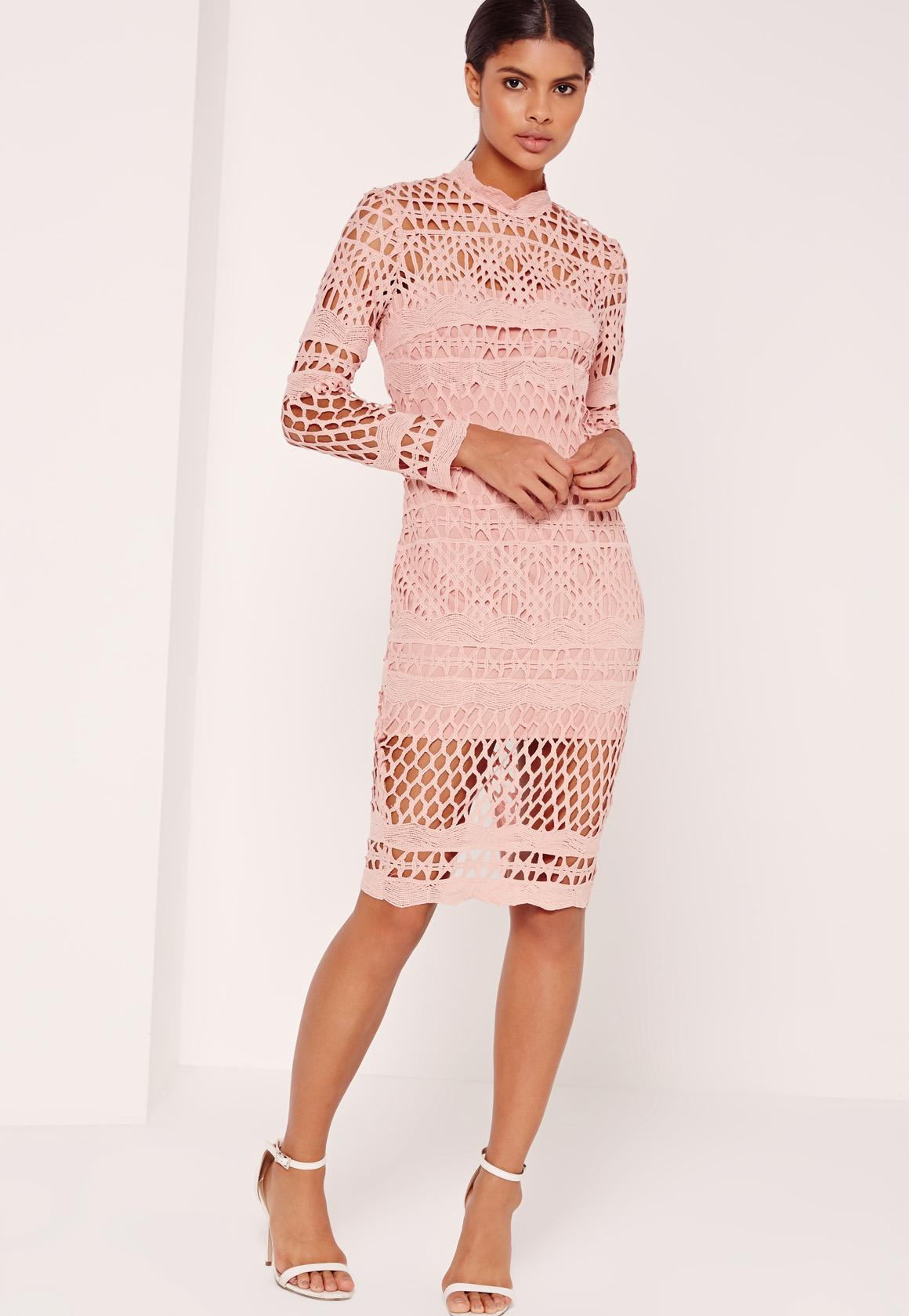 bd67665a5d Lyst - Missguided Lace High Neck Midi Dress Pink in Pink