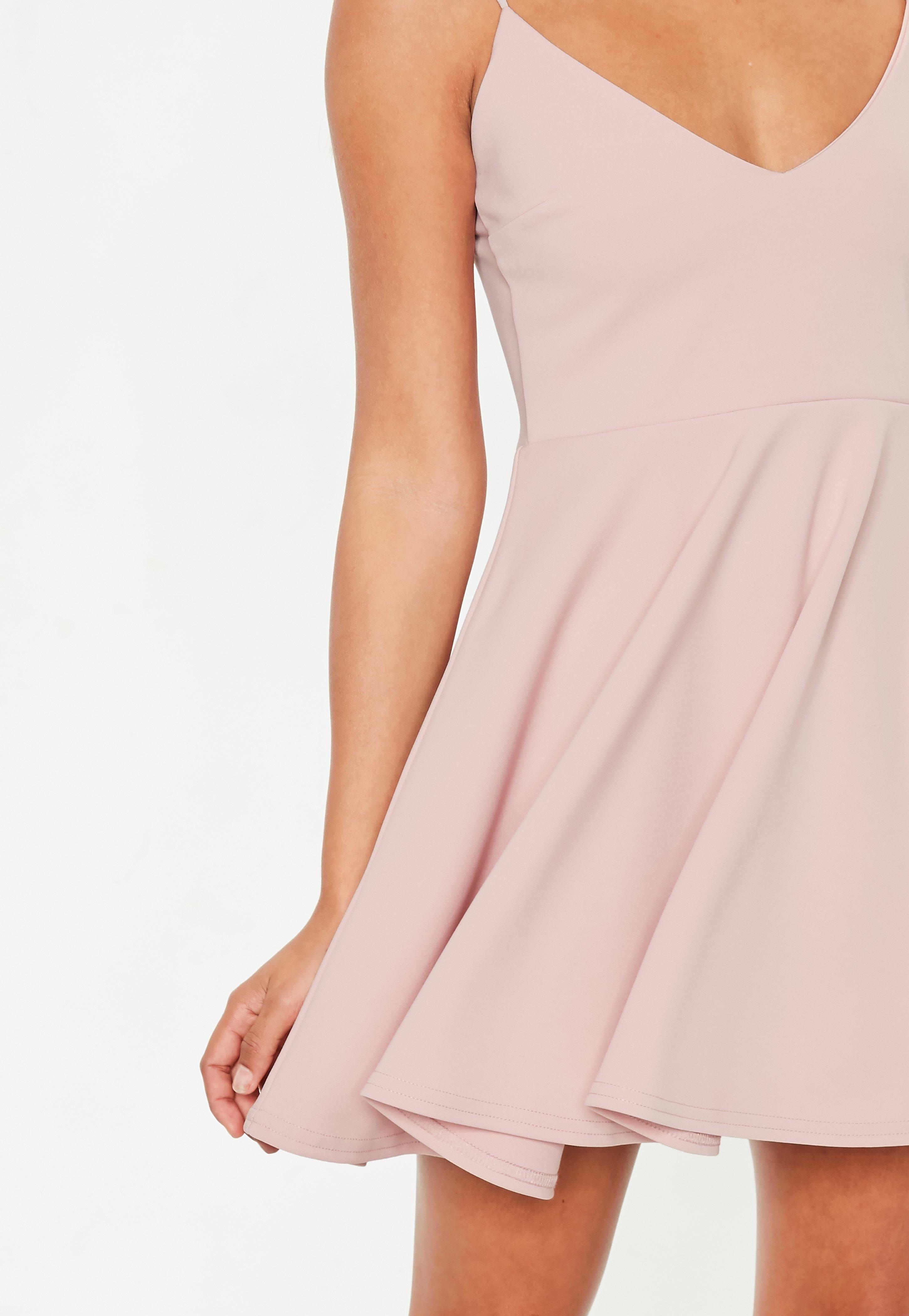 014d4d24823 Missguided - Petite Pink Strappy Scuba Skater Dress - Lyst. View fullscreen