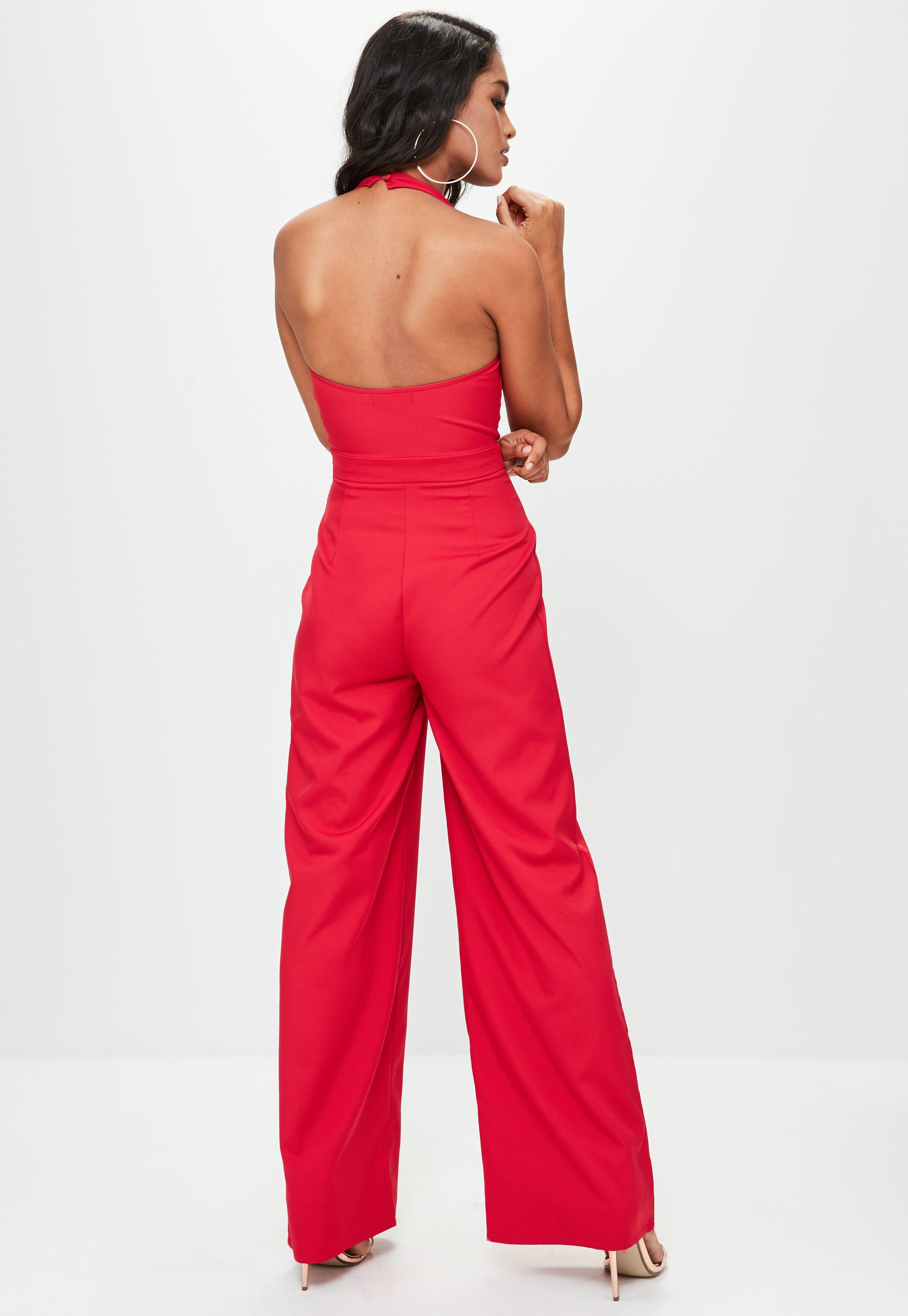 a22430b3e4 Lyst - Missguided Red Tailored Large Lapel Jumpsuit in Red
