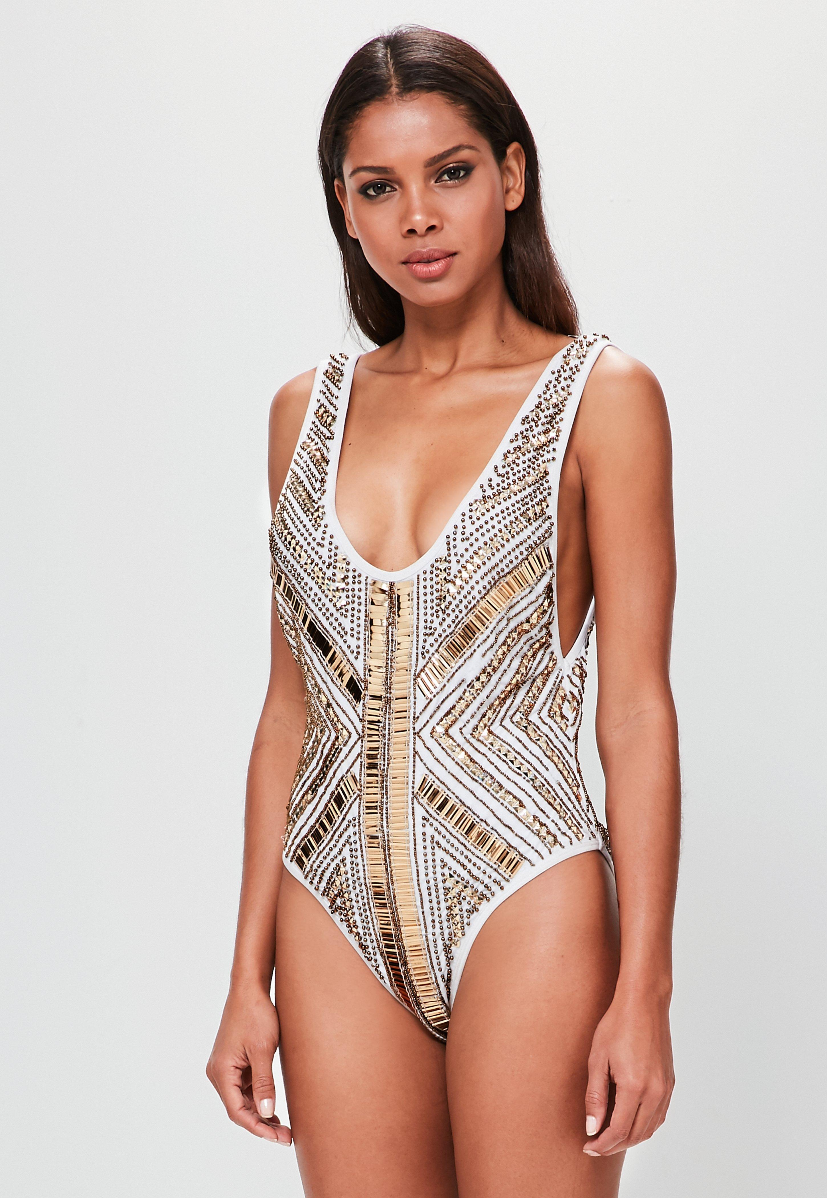 Lyst - Missguided Peace + Love Gold Embellished Bodysuit in Metallic 563f1c409