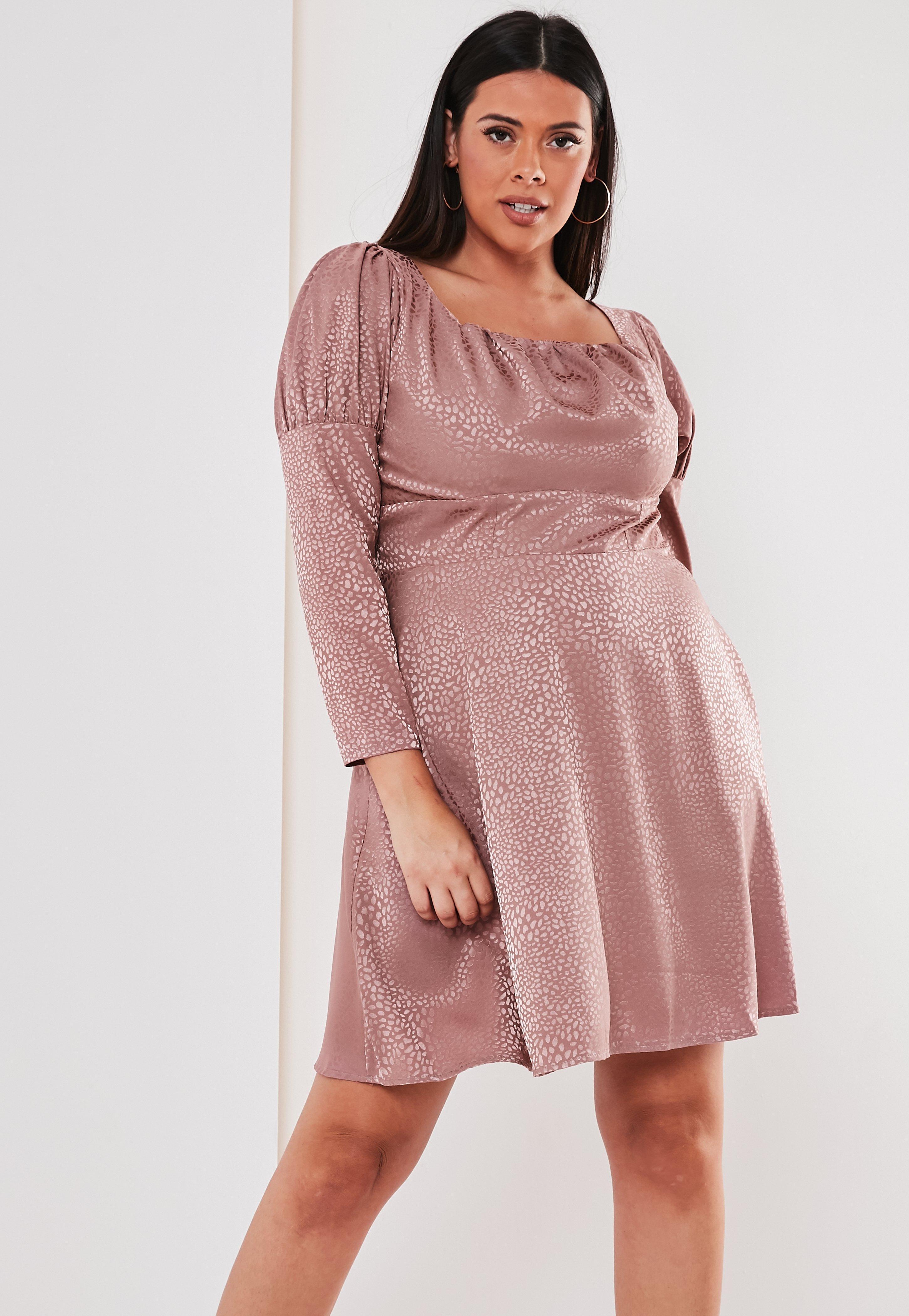 270444286e5 Lyst - Missguided Plus Size Pink Satin Leopard Milkmaid Skater Dress ...