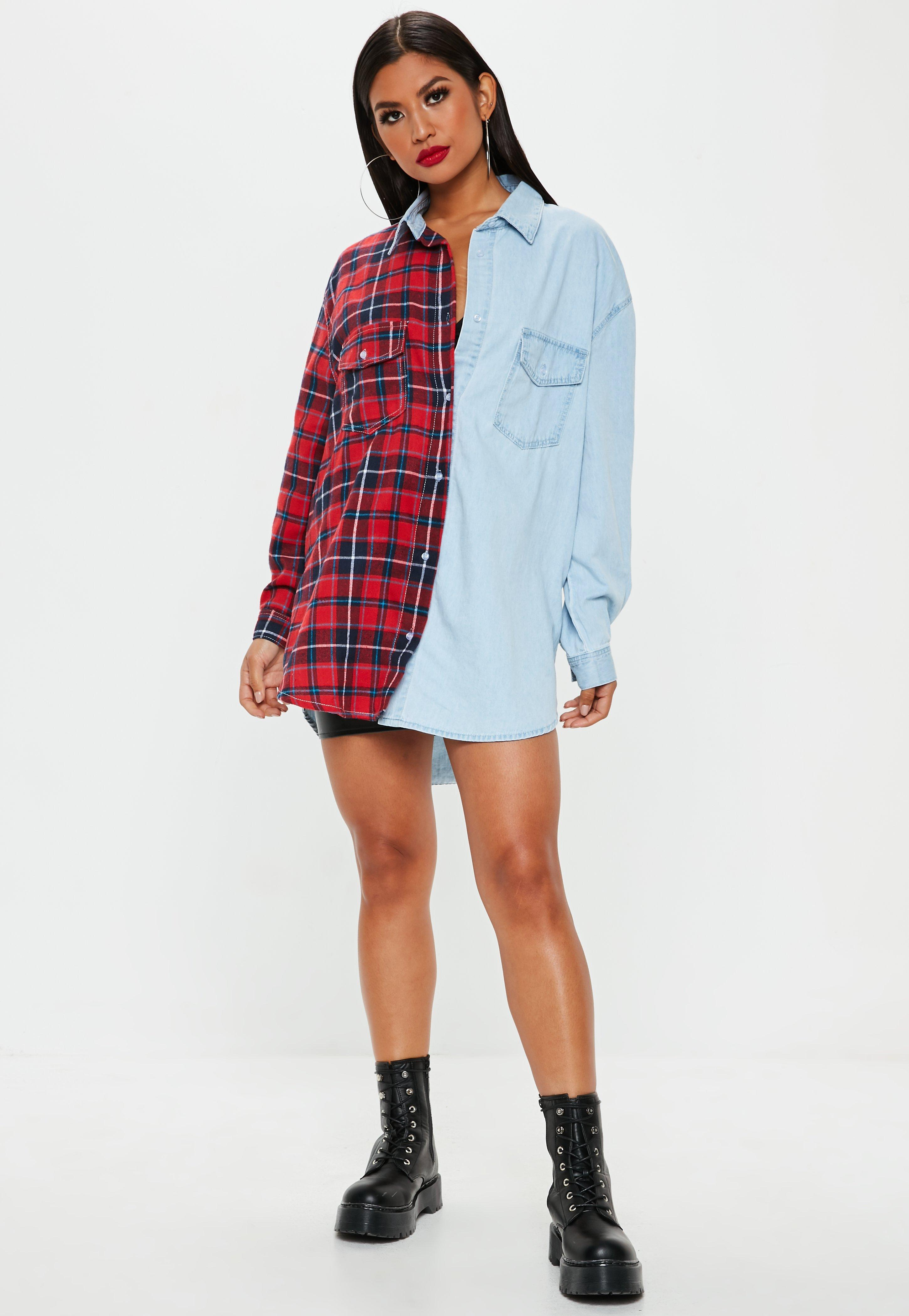 34fe2f79b5c1ee Missguided - Blue Oversized Check And Denim Shirt In Multi - Lyst. View  fullscreen