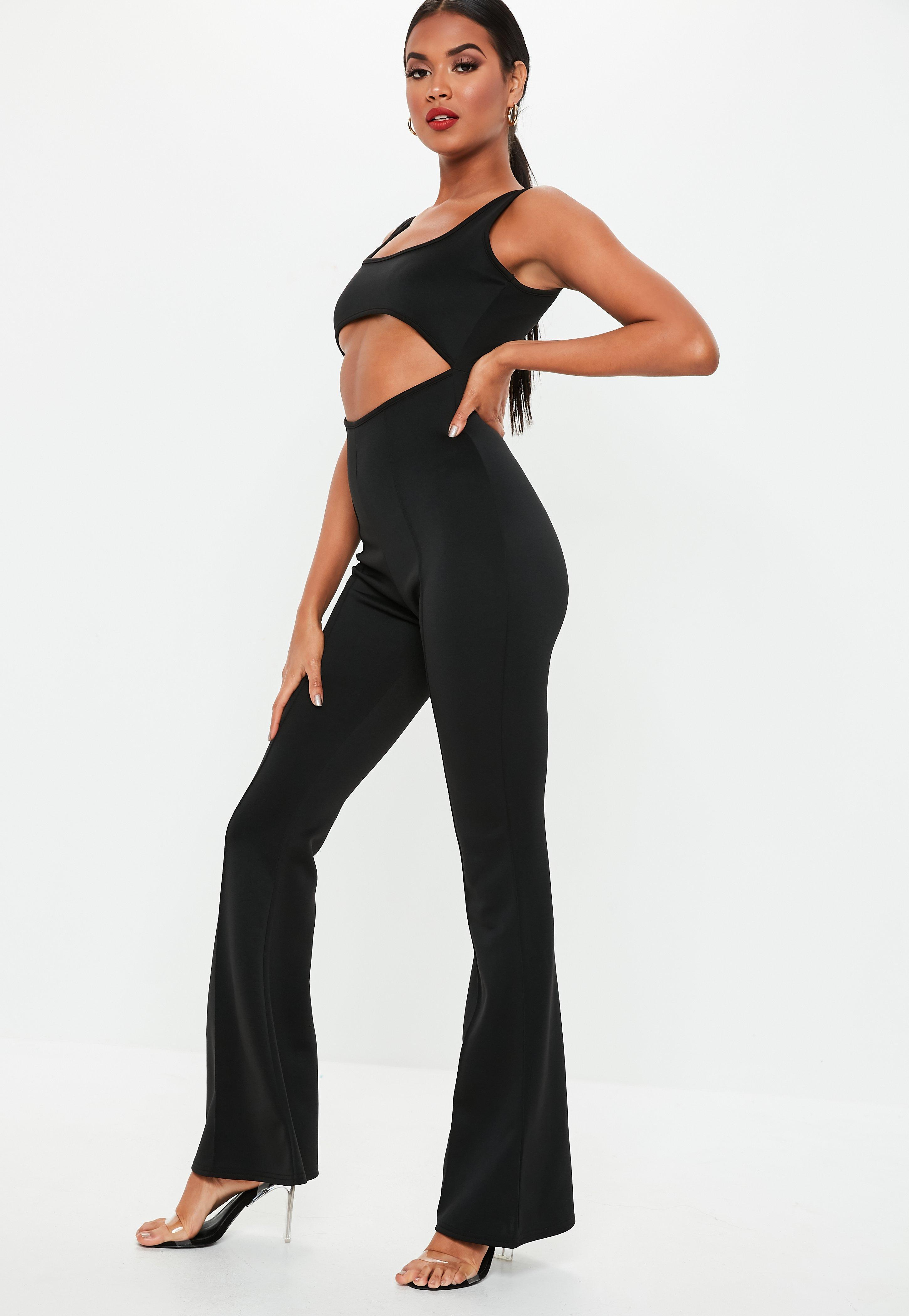 09bd52e60529 Missguided - Black Cut Out Square Neck Flared Jumpsuit - Lyst. View  fullscreen