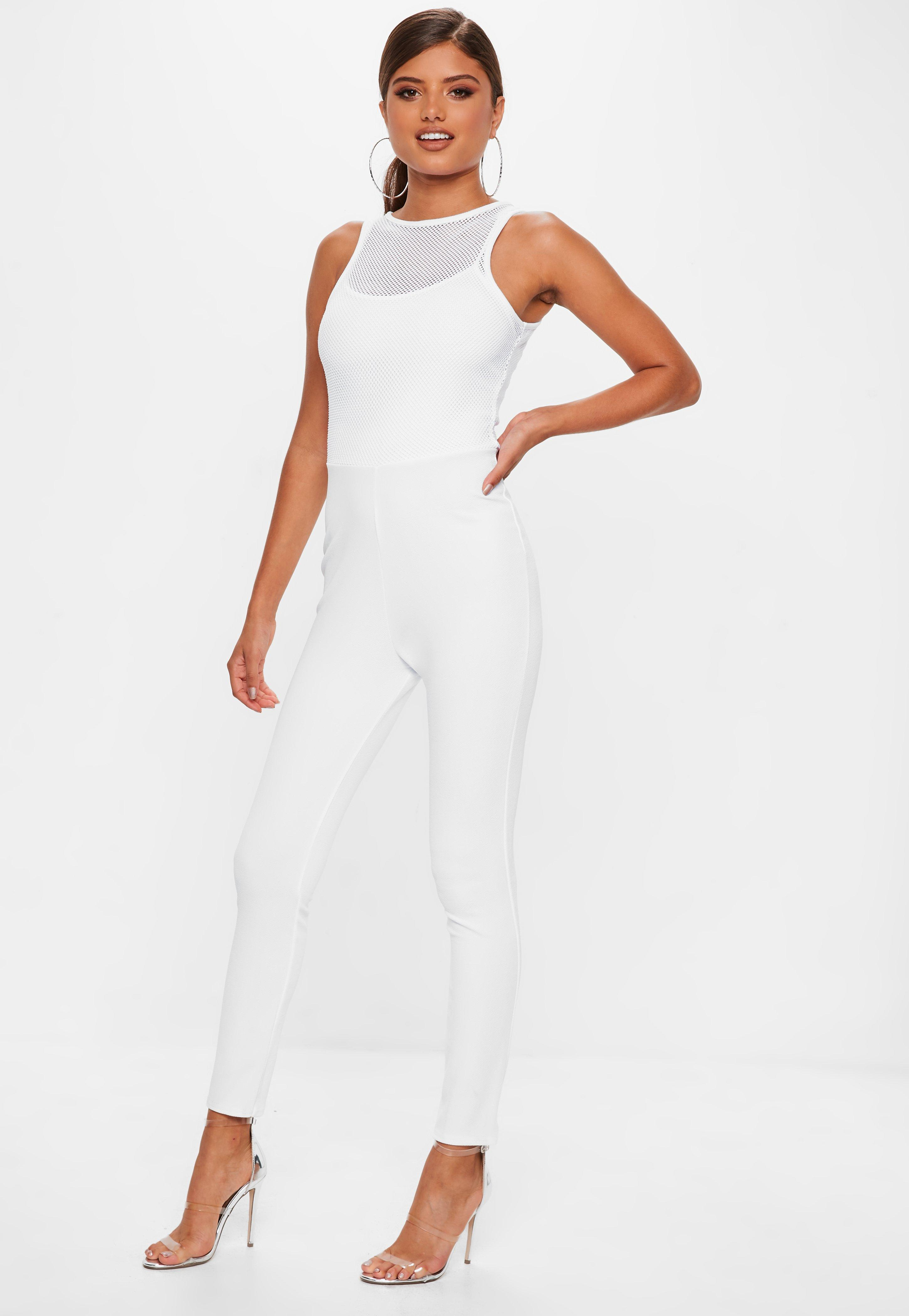 e5215a349e56 Lyst - Missguided White Fishnet Top Jumpsuit in White