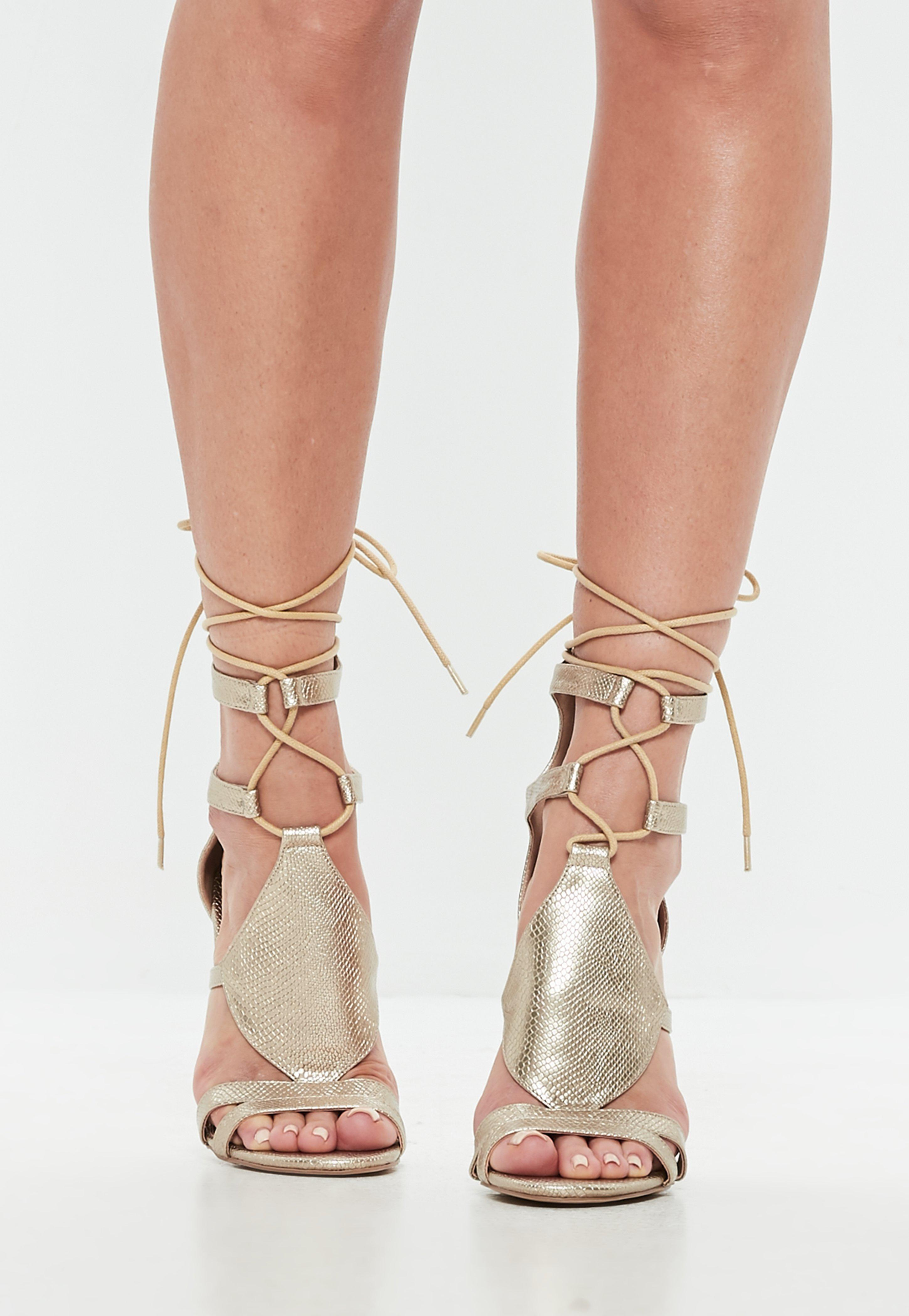 af38f6d356d2 Missguided Gold Ankle Tie Gladiator Sandals in Metallic - Lyst