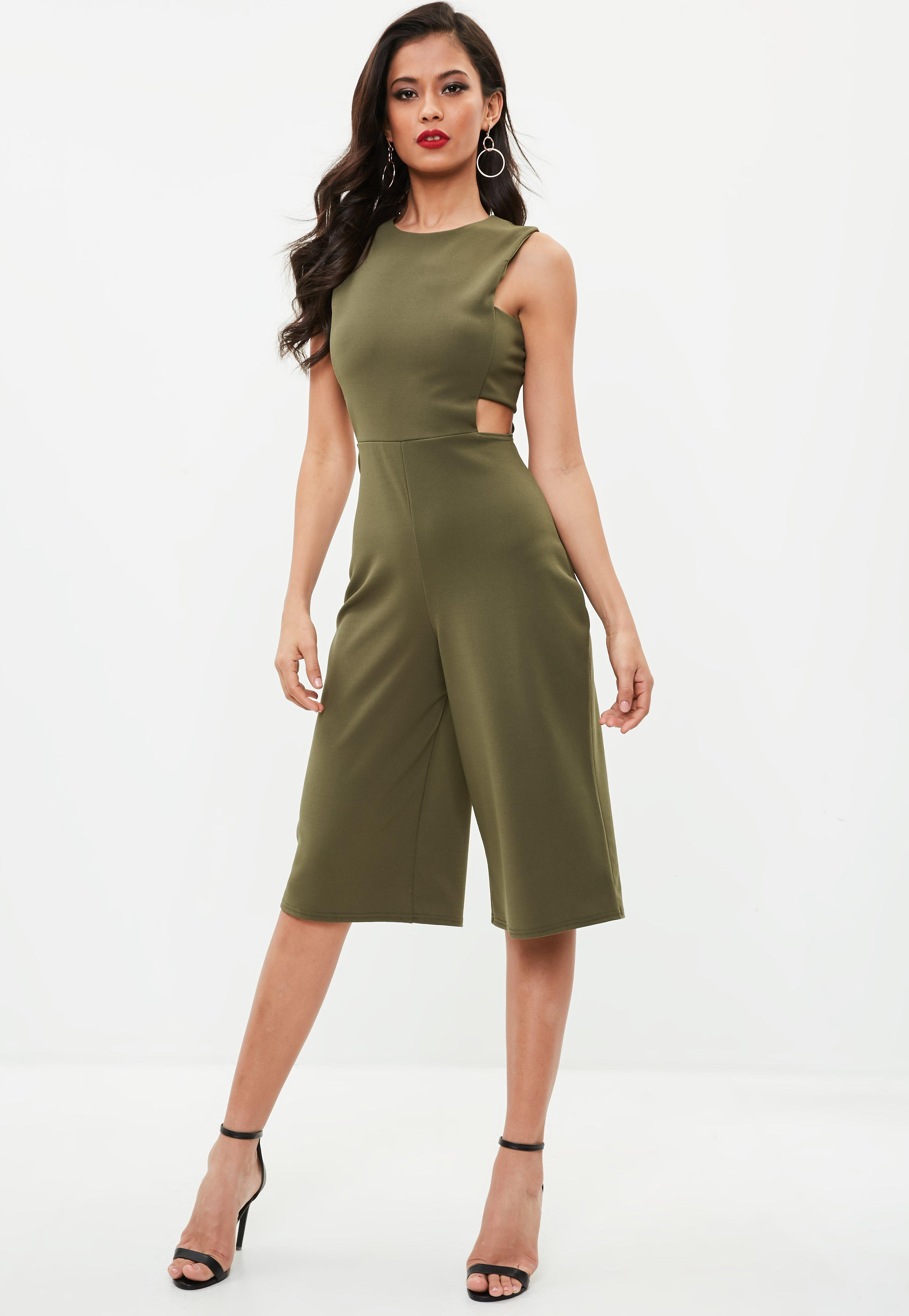 cc743f3bf07 Lyst - Missguided Khaki Side Tab Culotte Jumpsuit in Green