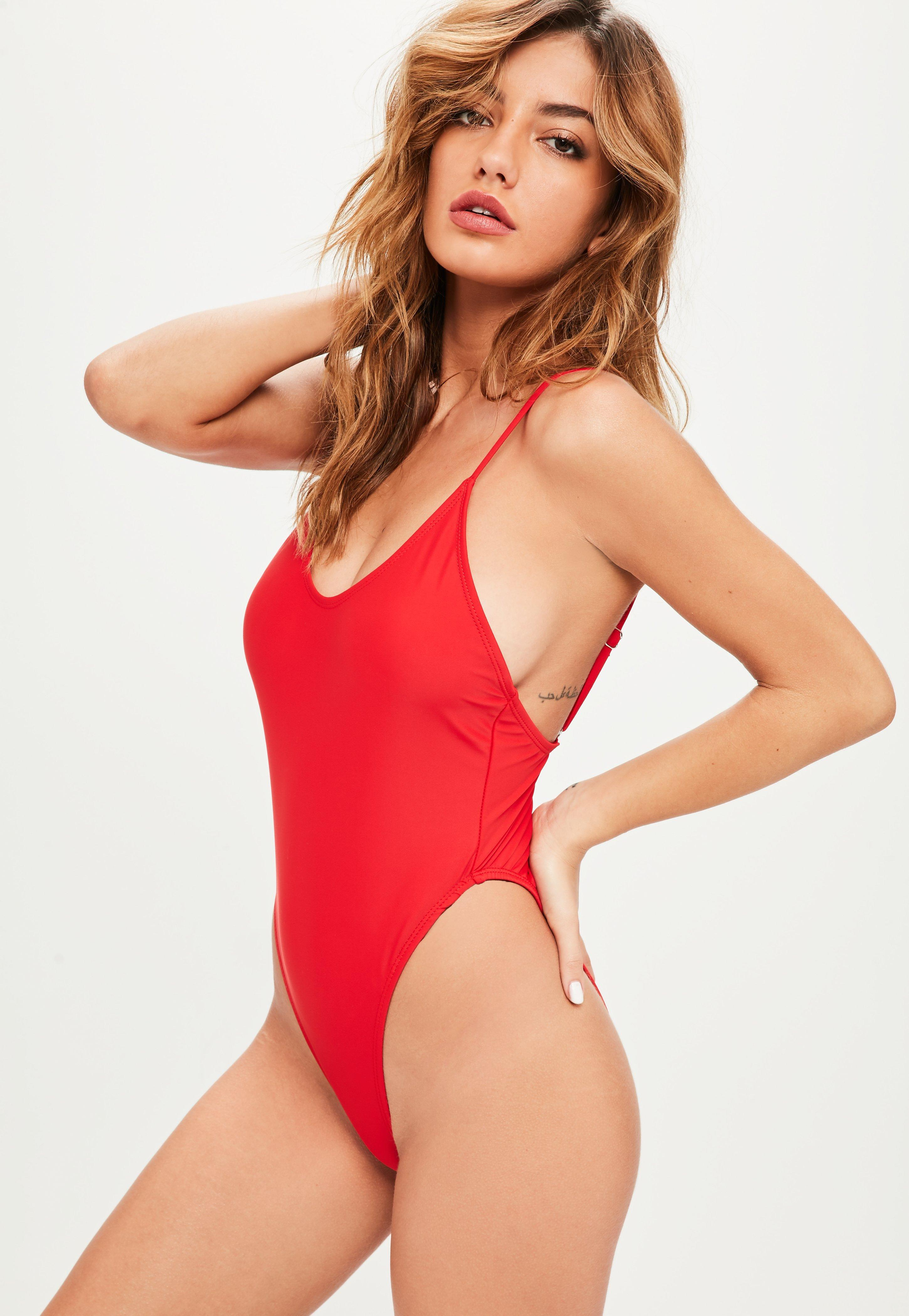2efdbe8e13 Missguided Red Super High Leg Swimsuit in Red - Lyst