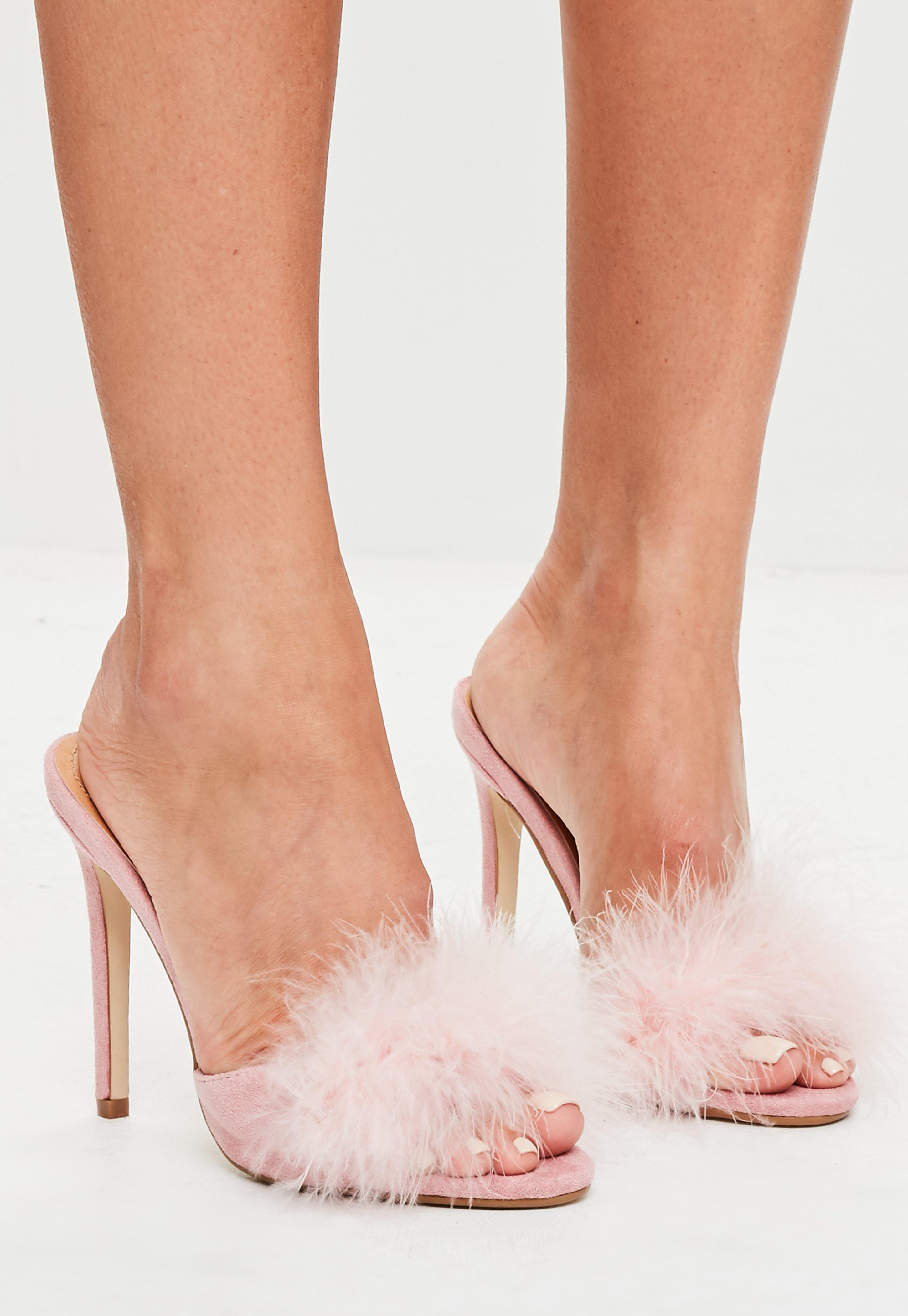 089127a2fce Lyst - Missguided Pink Feather Heeled Mules in Pink
