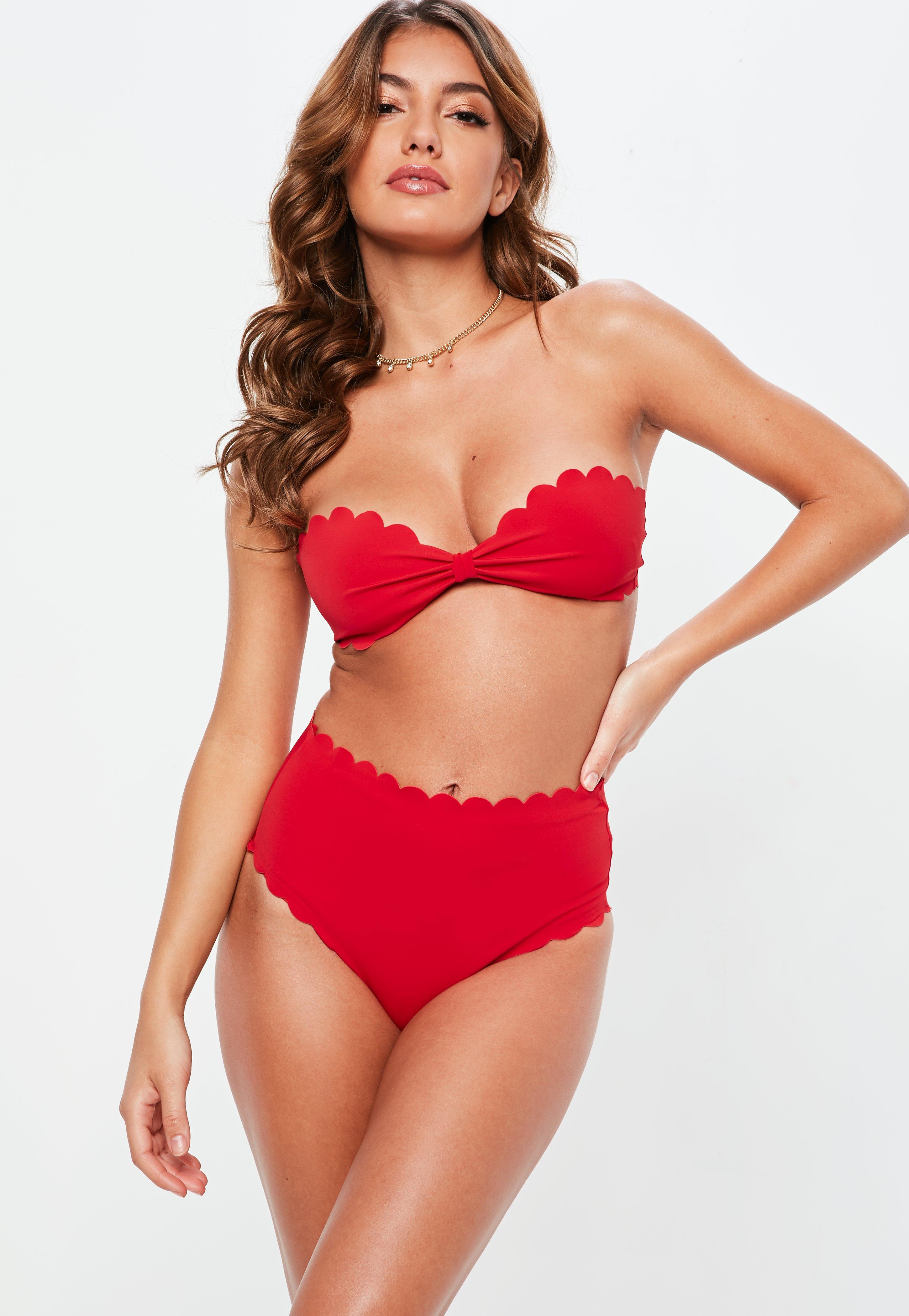 91cc77df19a9b Lyst - Missguided Red Scallop Edge High Waisted Bikini Bottom in Red