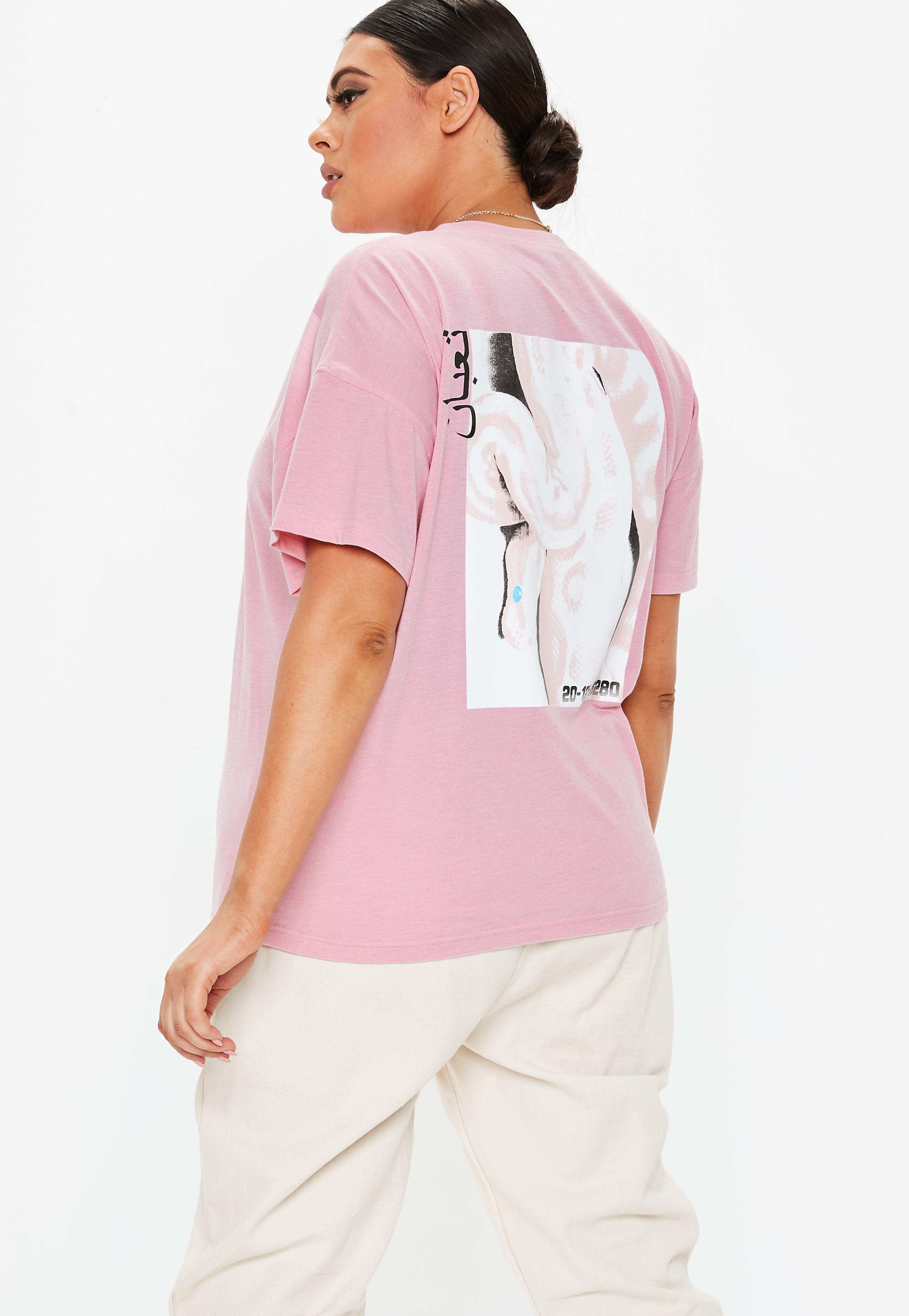 20616795f96 Lyst - Missguided Plus Size Pink Oversized Graphic T Shirt in Pink