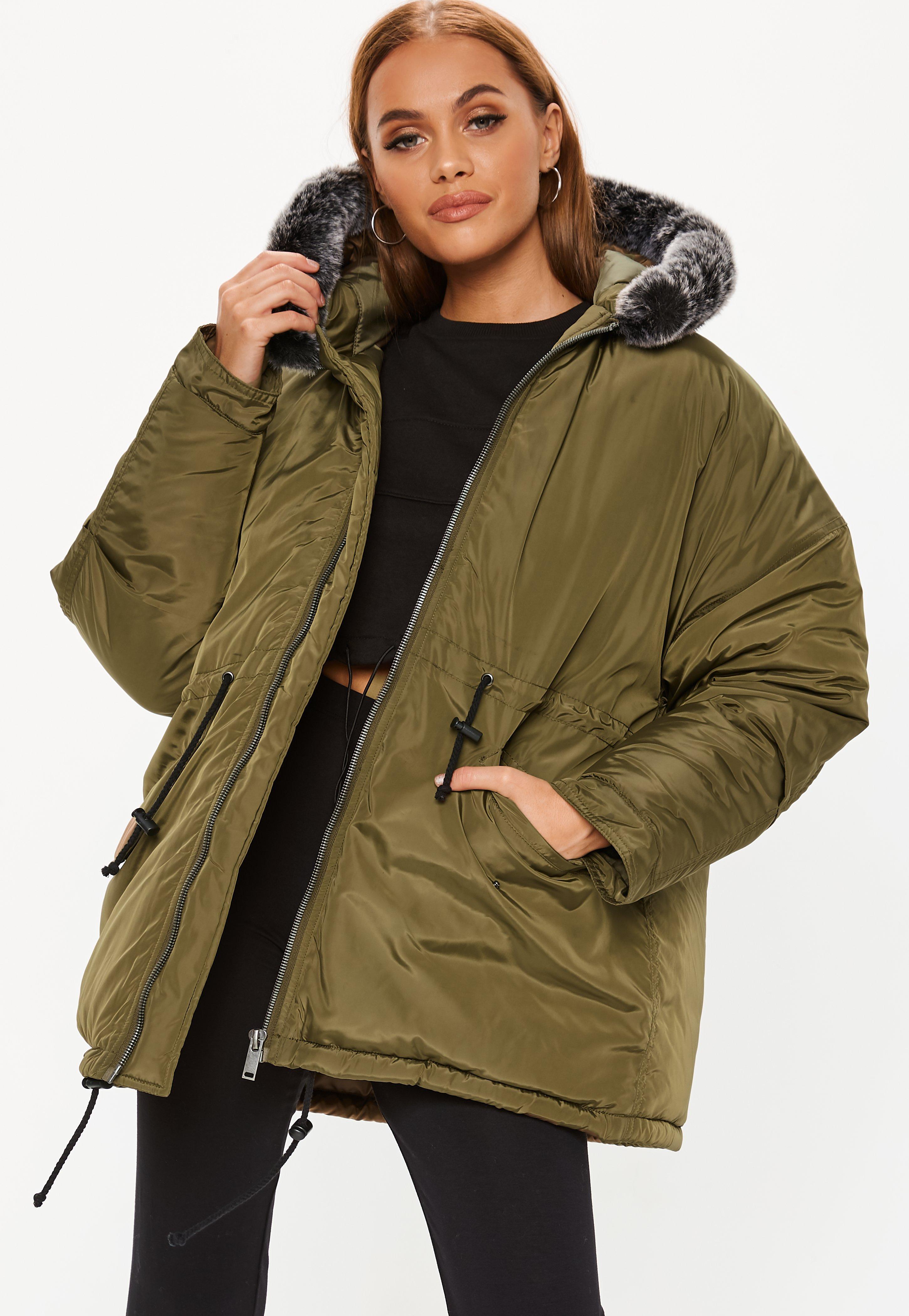 b193420dfbfab Missguided. Women s Natural Khaki Contrast Faux Fur Trim Utility Parka  Jacket