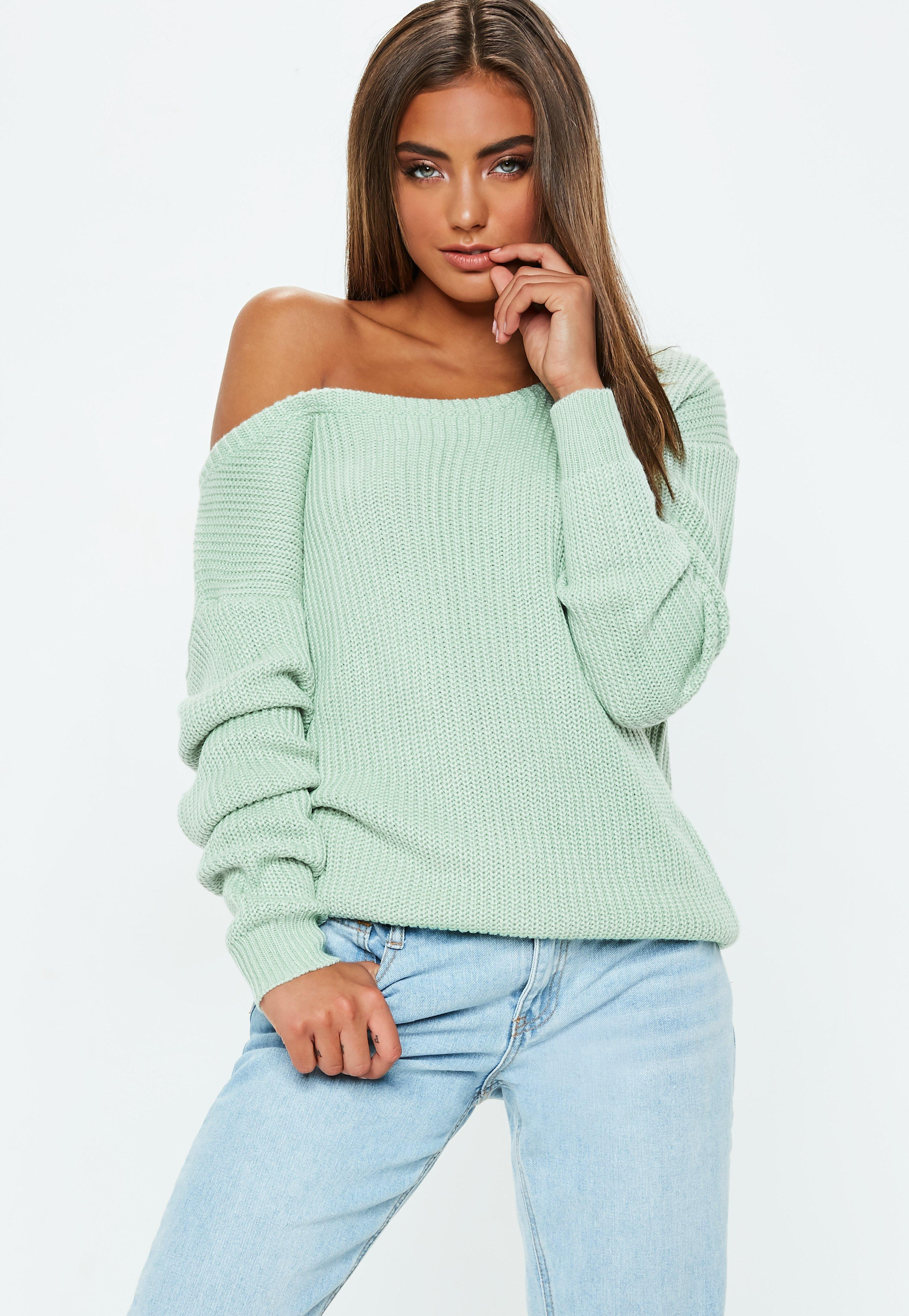 c0b92adf7 Lyst - Missguided Mint Green Off Shoulder Knitted Jumper in Green