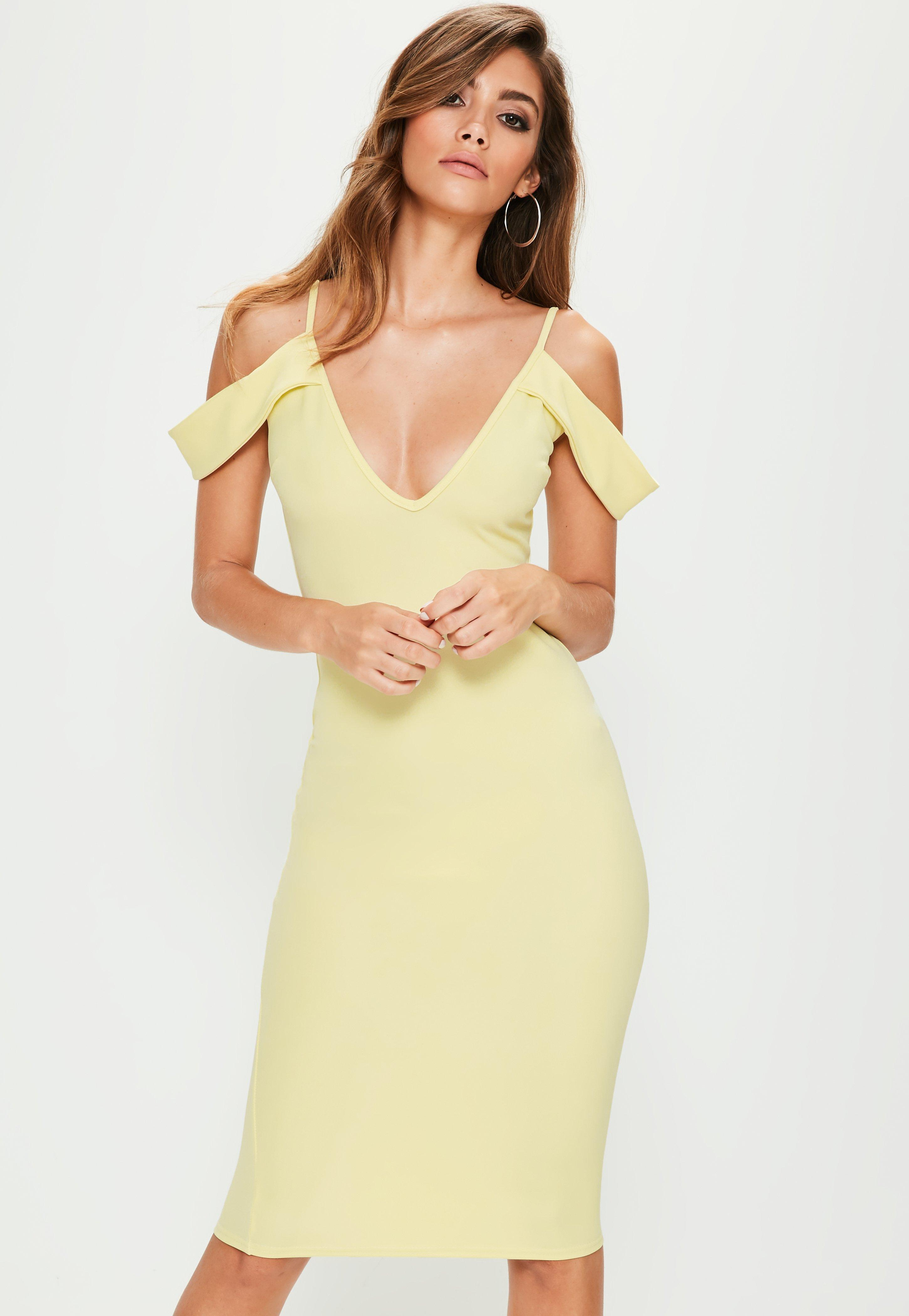 88e746780f Missguided Yellow Frill Sleeve Plunge Scuba Midi Dress in Yellow - Lyst