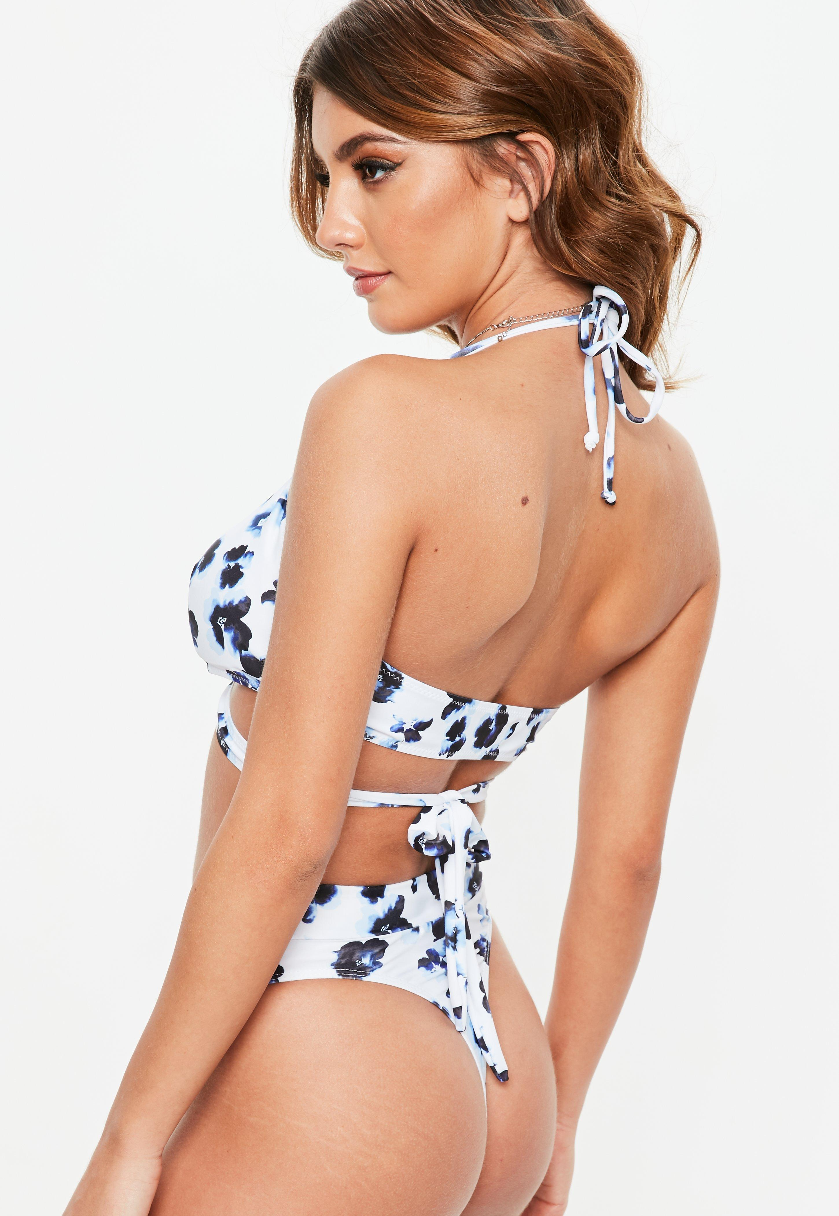 9d2f5afb5e3 Lyst - Missguided White Floral Print High Waisted Thong Bikini ...