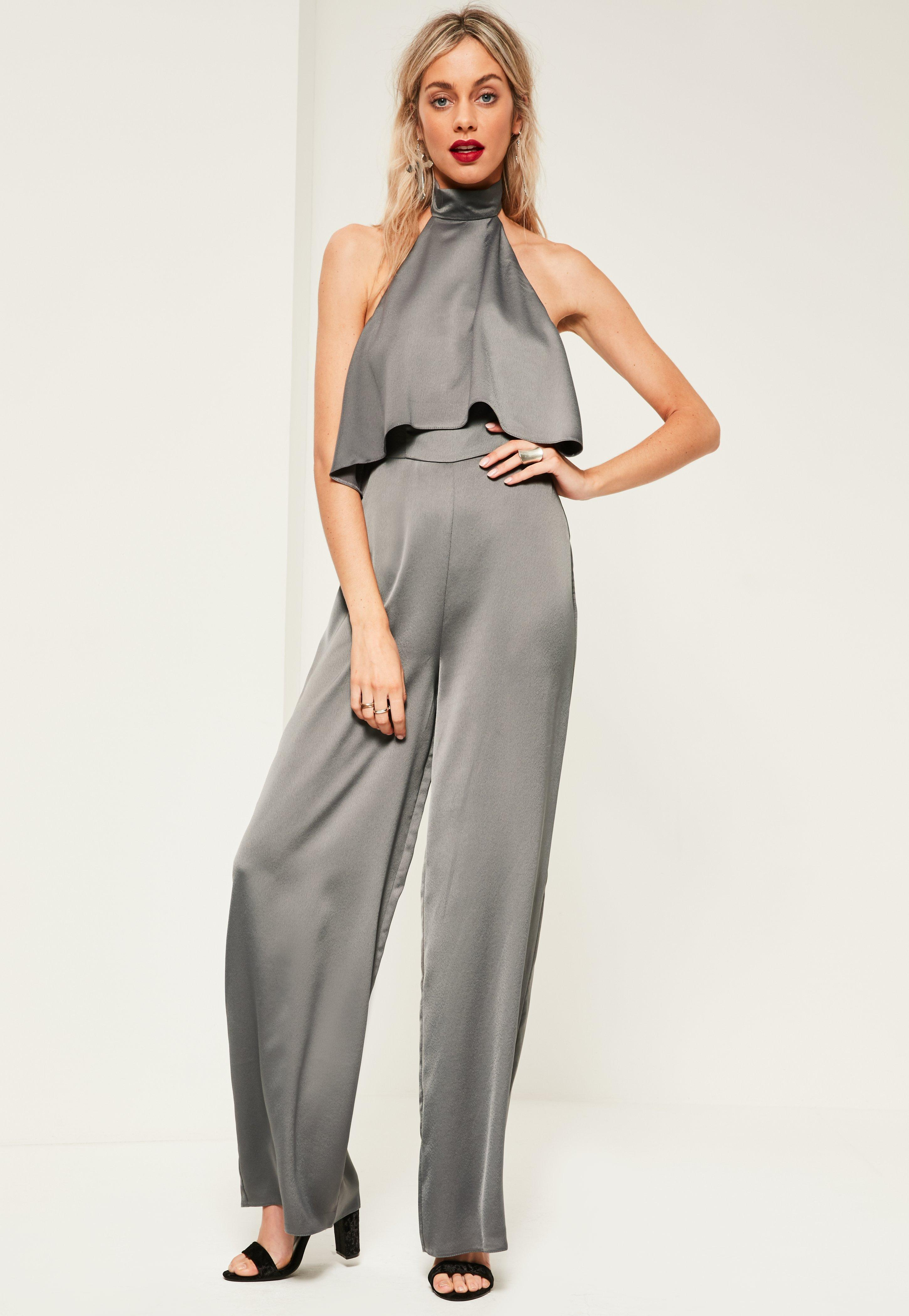 3a190d4449d Missguided Grey Double Layer Satin High Neck Jumpsuit in Gray - Lyst