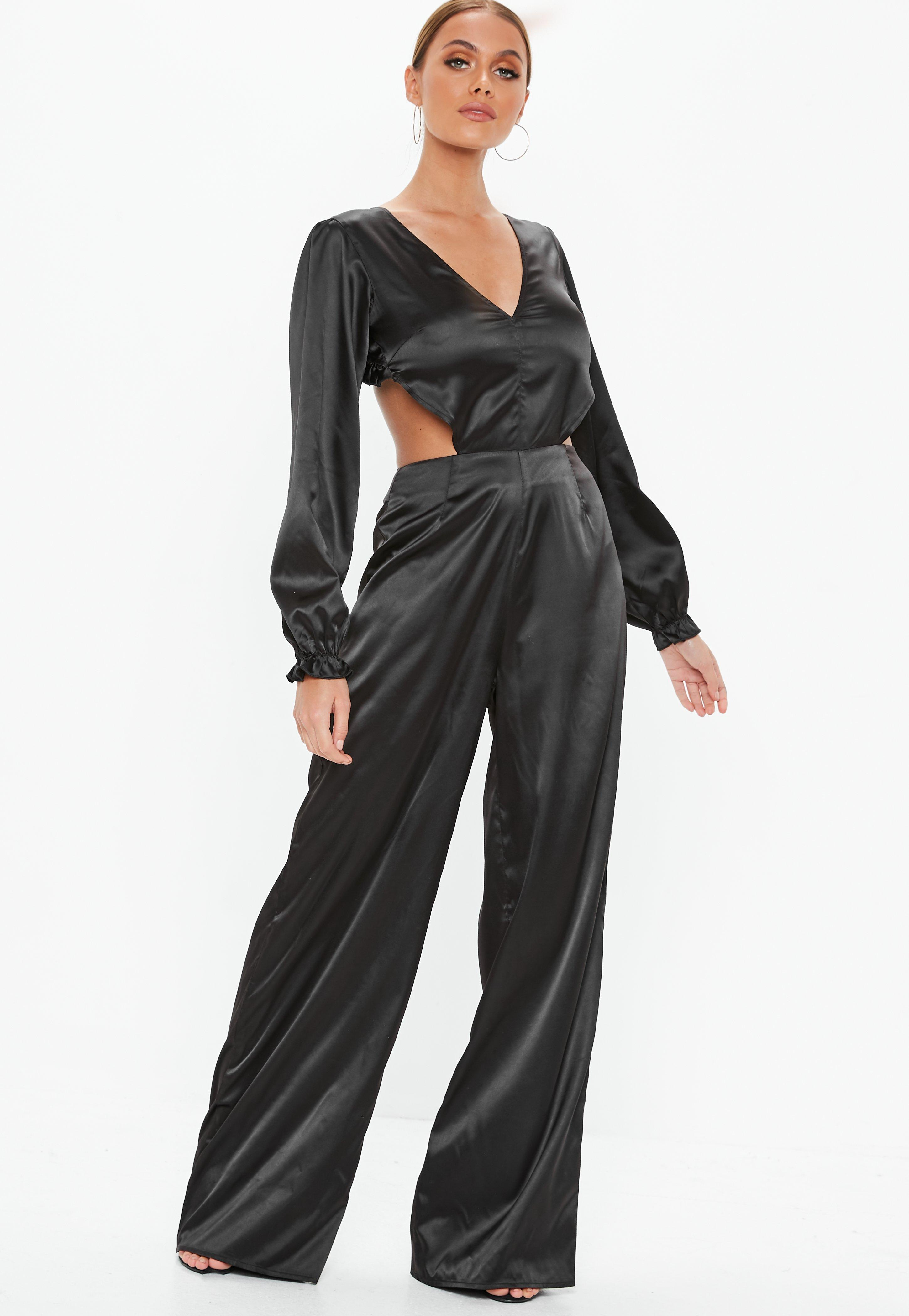 2302916ca268 Missguided - Black Satin Frill Open Back Jumpsuit - Lyst. View fullscreen