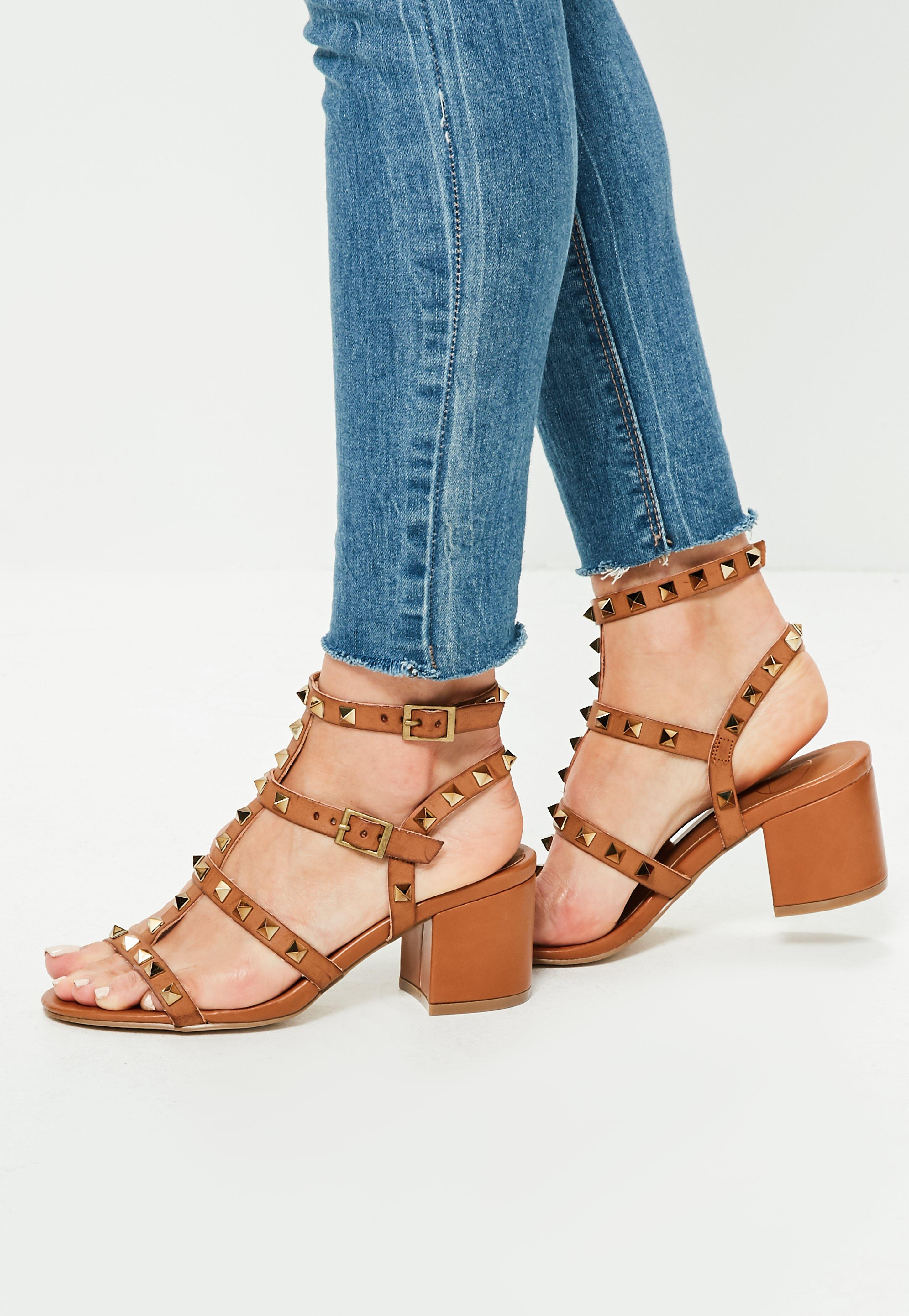 d94ae342346 Missguided Brown Studded T Bar Block Heeled Sandals in Brown - Lyst