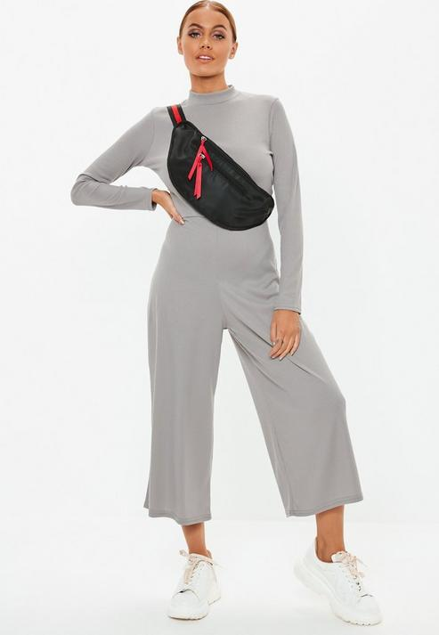 9adcc1e2ffdf Missguided Grey High Neck Ribbed Culotte Jumpsuit in Gray - Lyst