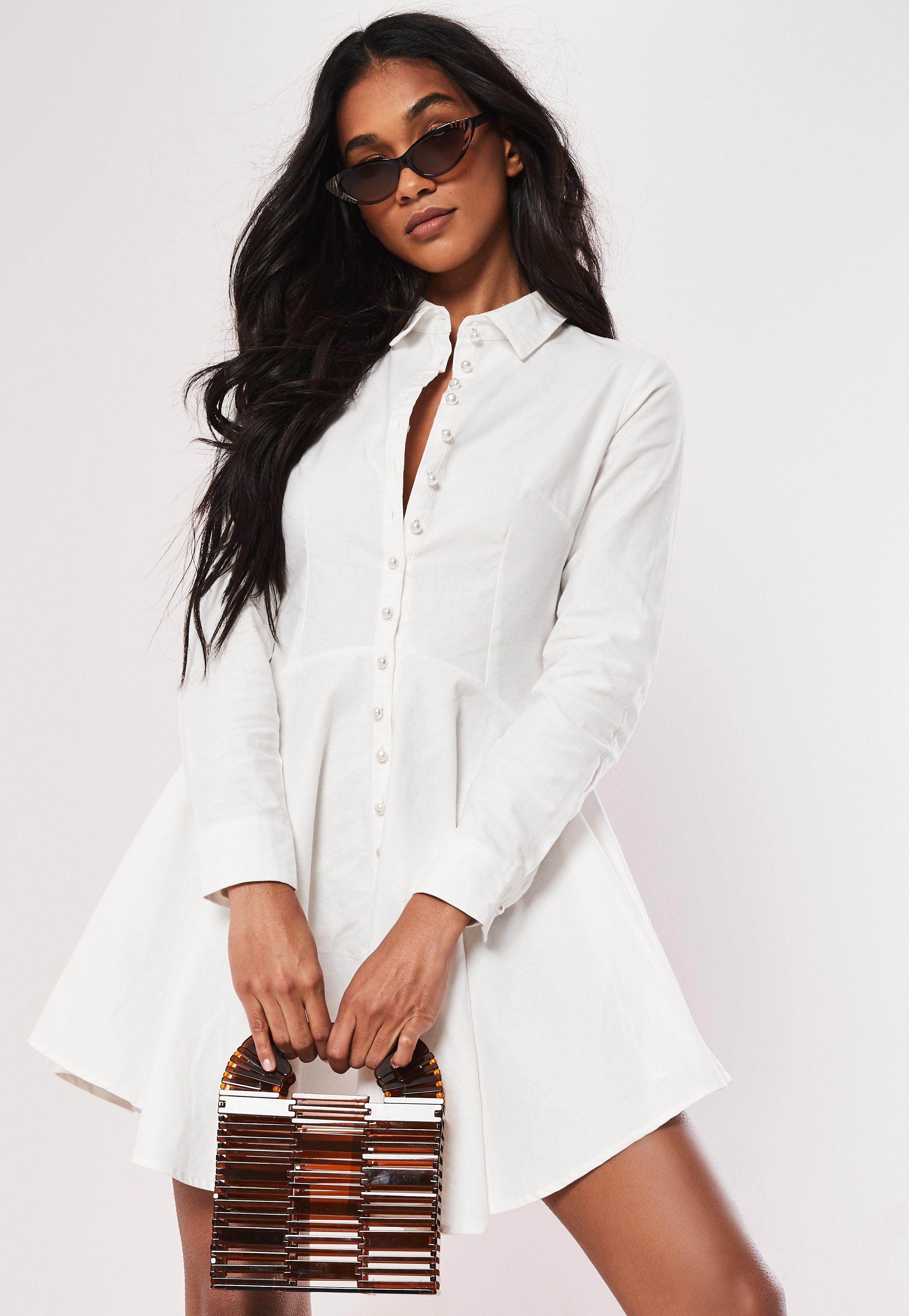 33abb63804cf Missguided White Cotton Button Down Skater Shirt Dress in White - Lyst