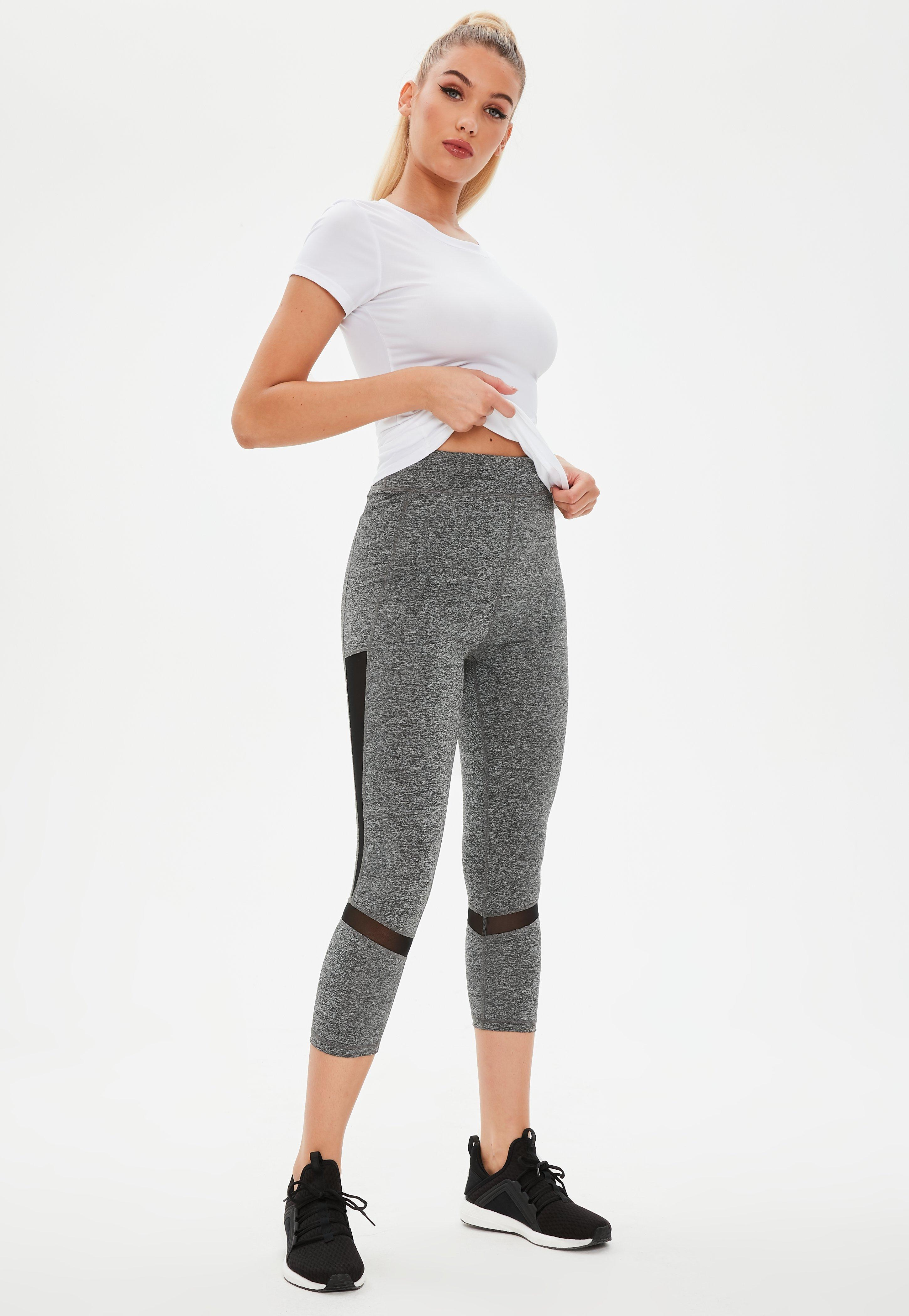 873a98319afd2 Lyst - Missguided Active Grey Mesh Cropped Gym Leggings in Gray