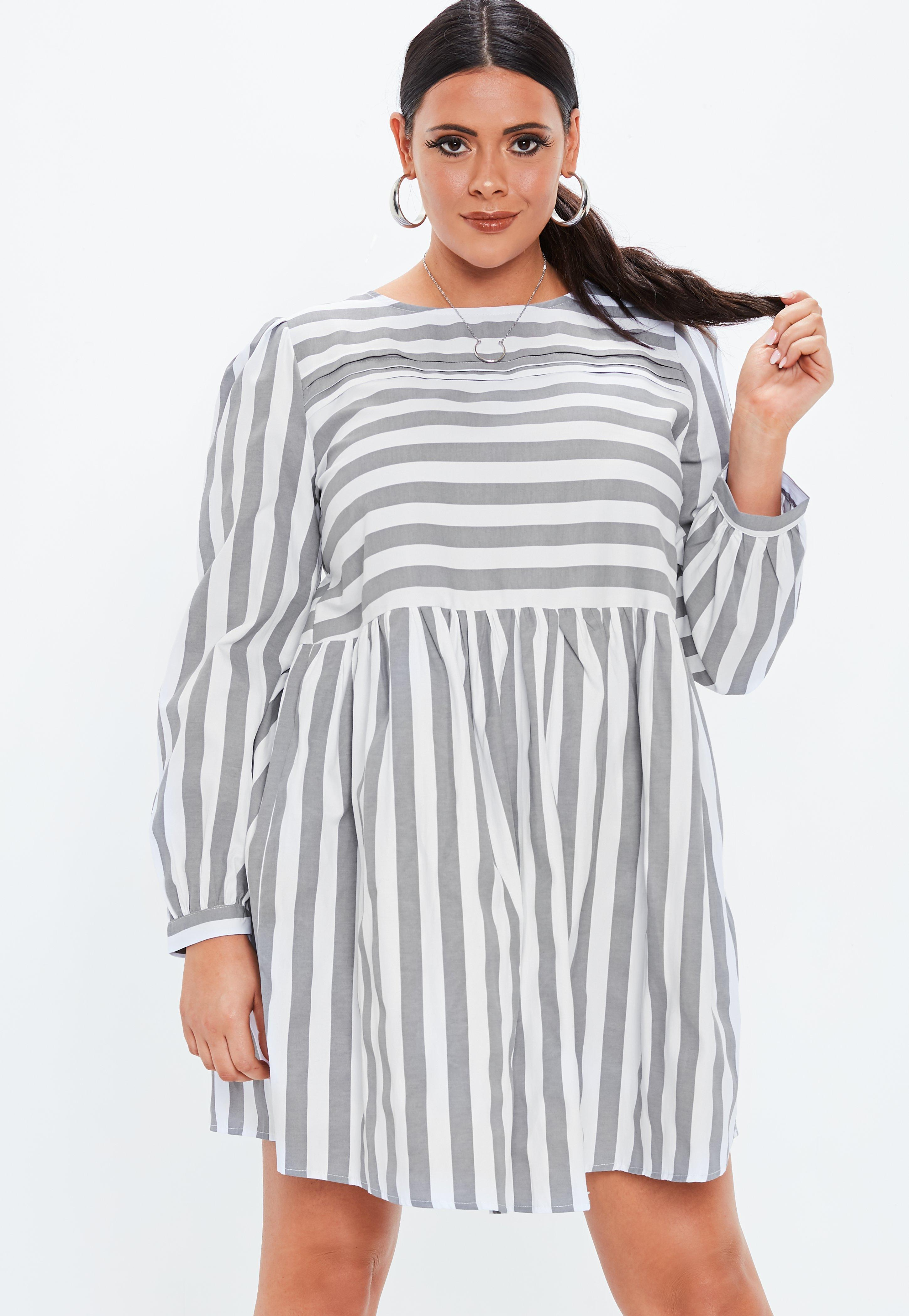Lyst - Missguided Plus Size Grey Stripe Long Sleeve Skater Dress in Gray