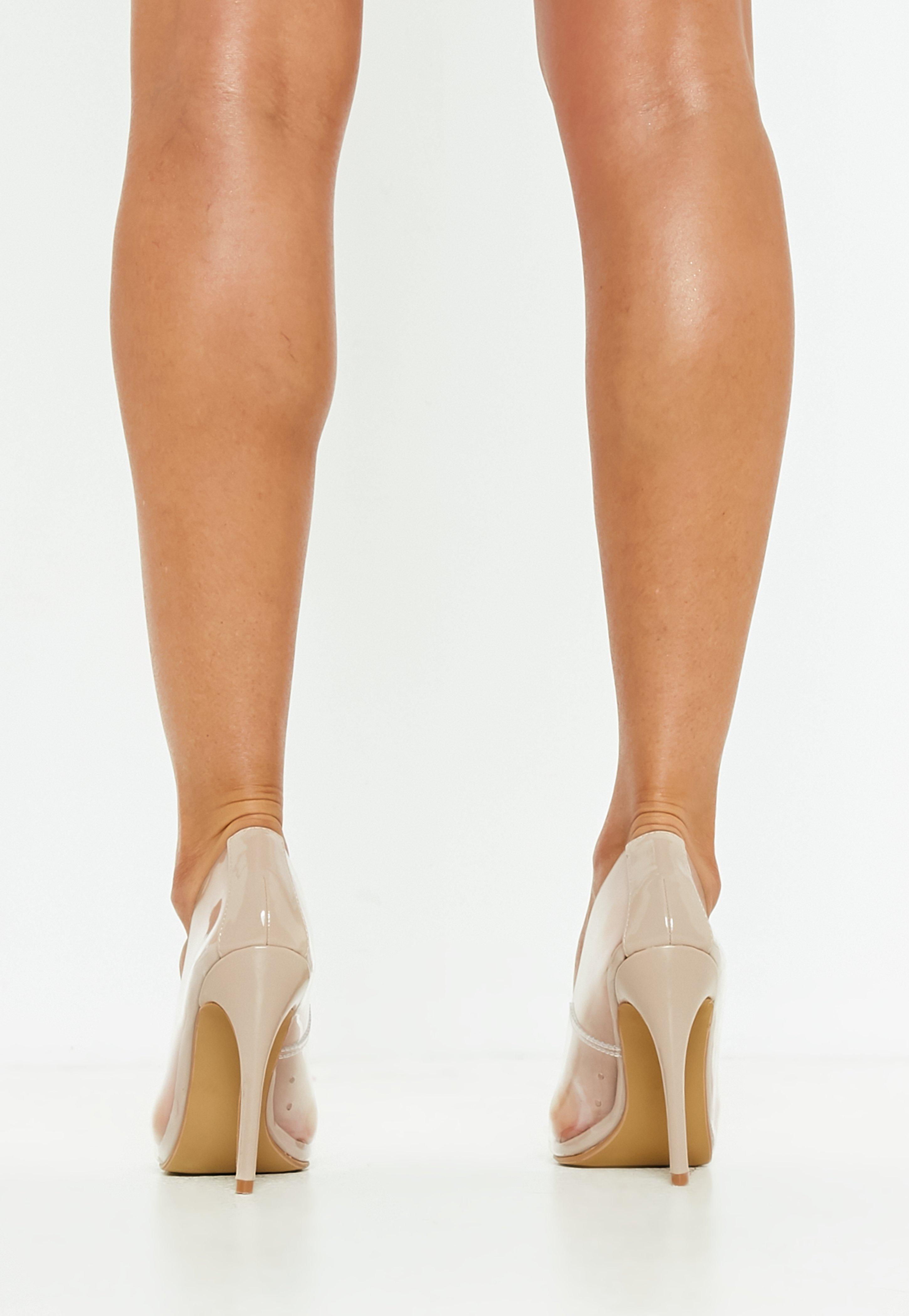 523a6edf7ac Lyst - Missguided Nude Clear Pointed Pumps in Natural