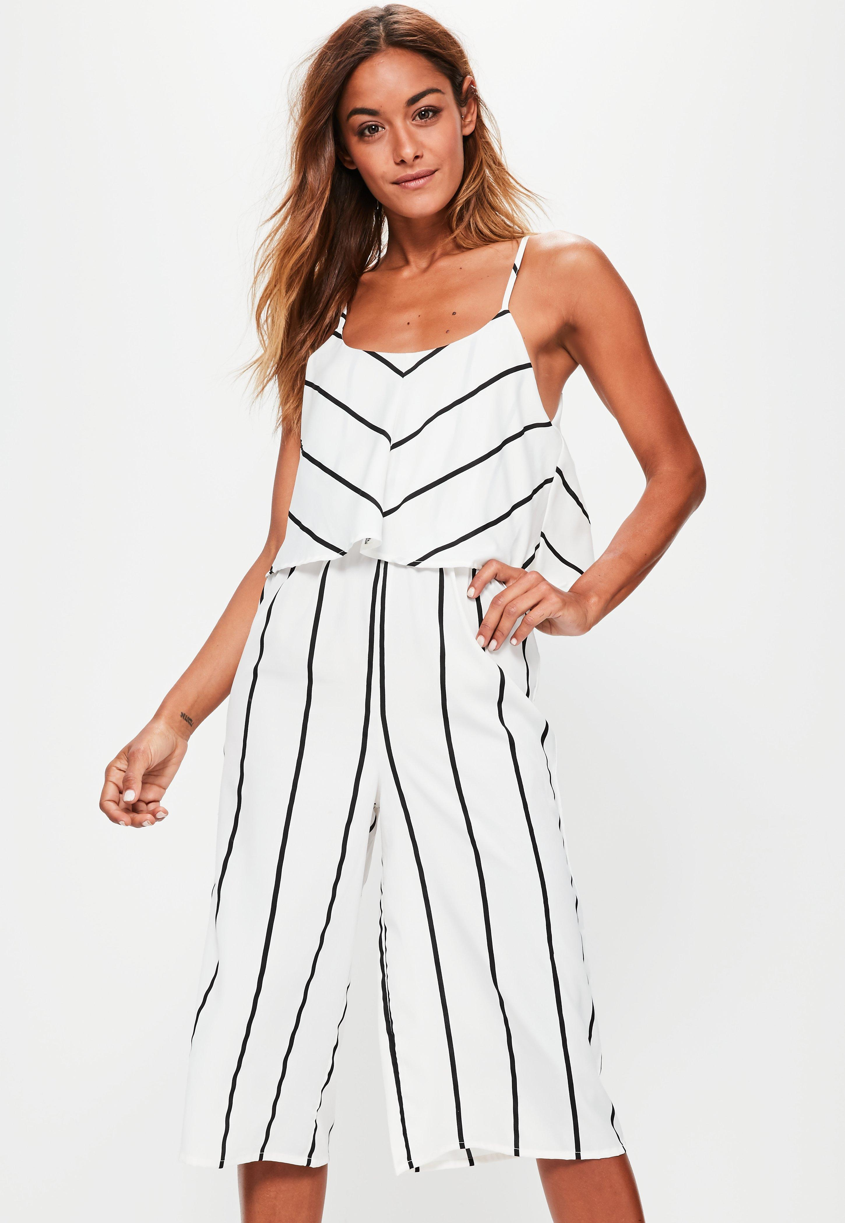 44e63c773bc Missguided White Striped Double Layer Culotte Jumpsuit in White - Lyst