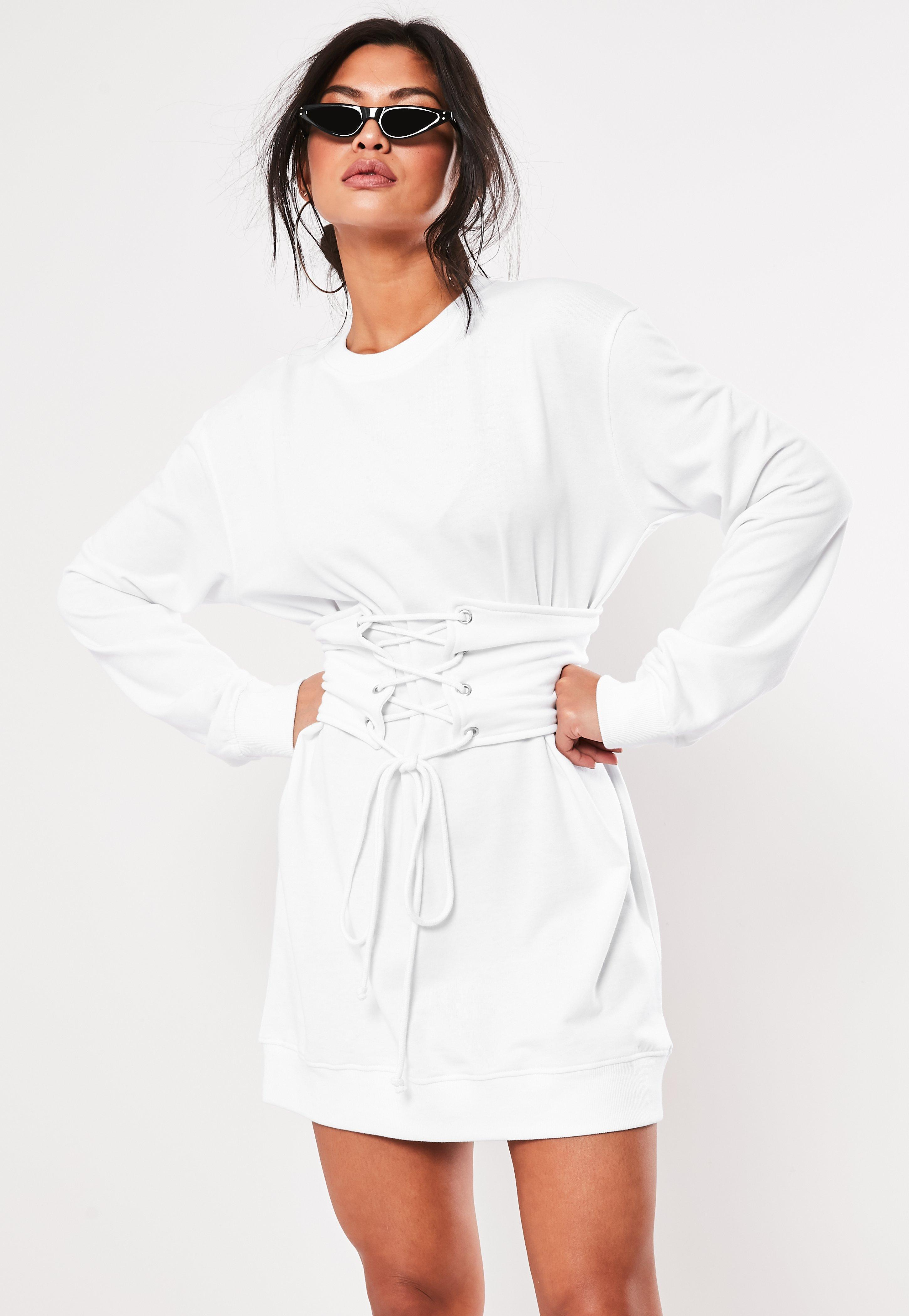 4fae4b437e0 Missguided White Oversized Corset Waist Sweater Dress in White - Lyst