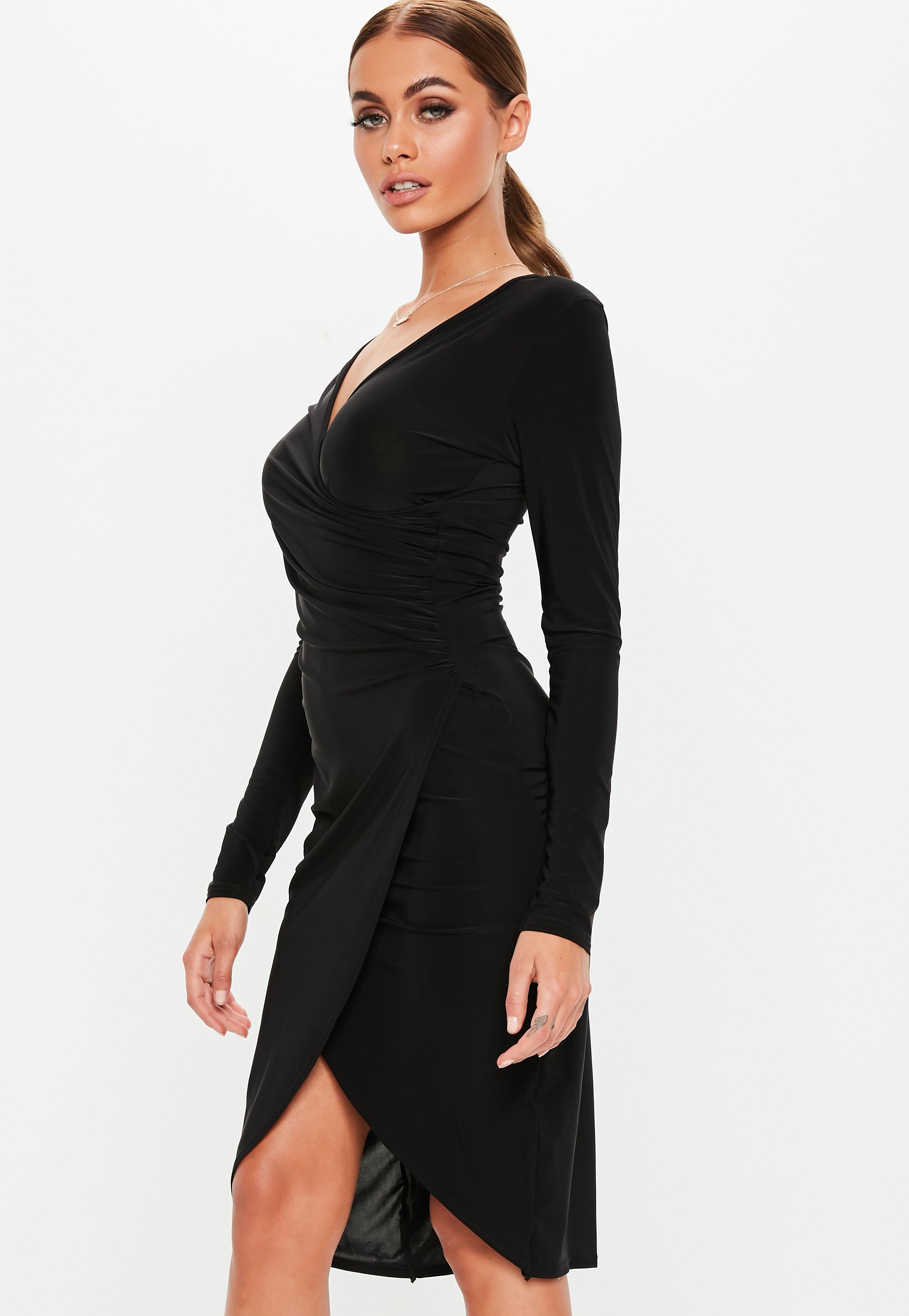 8ec02462a9c Lyst - Missguided Black Long Sleeve Slinky Wrap Midi Dress in Black