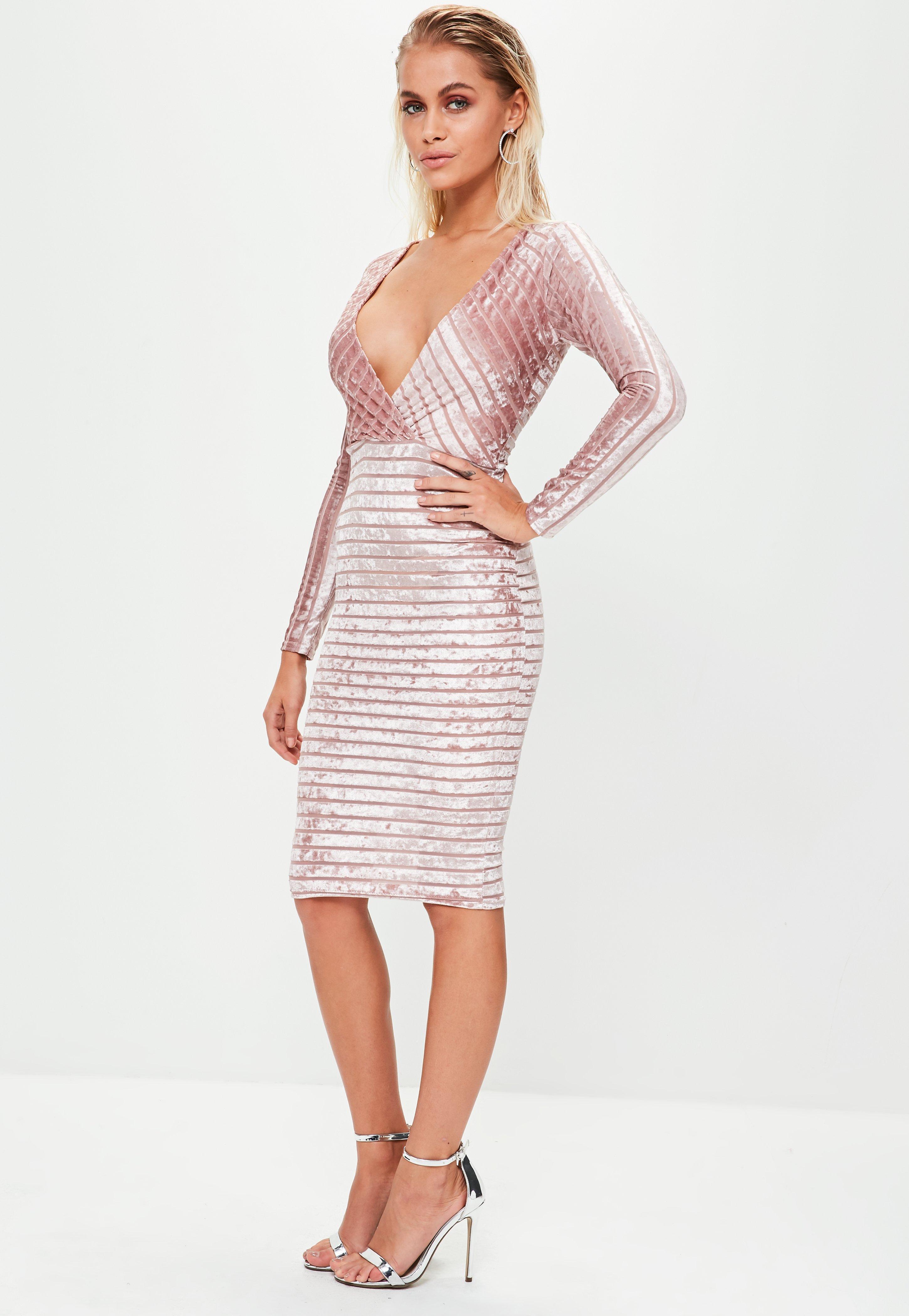 60ddea8fc3 Lyst - Missguided Pink Velvet Plunge Wrap Midi Bodycon Dress in Pink