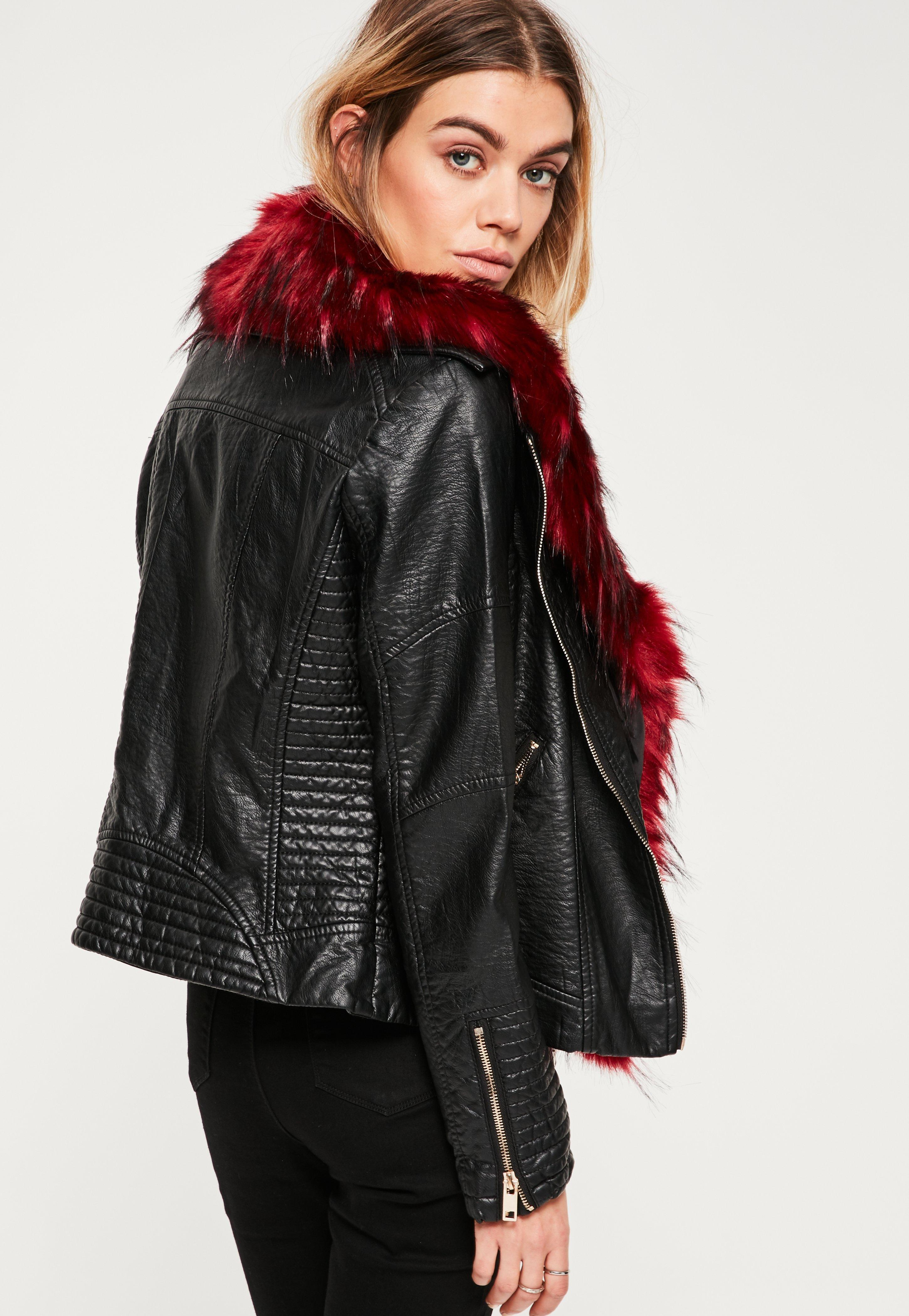 Faux red leather jacket