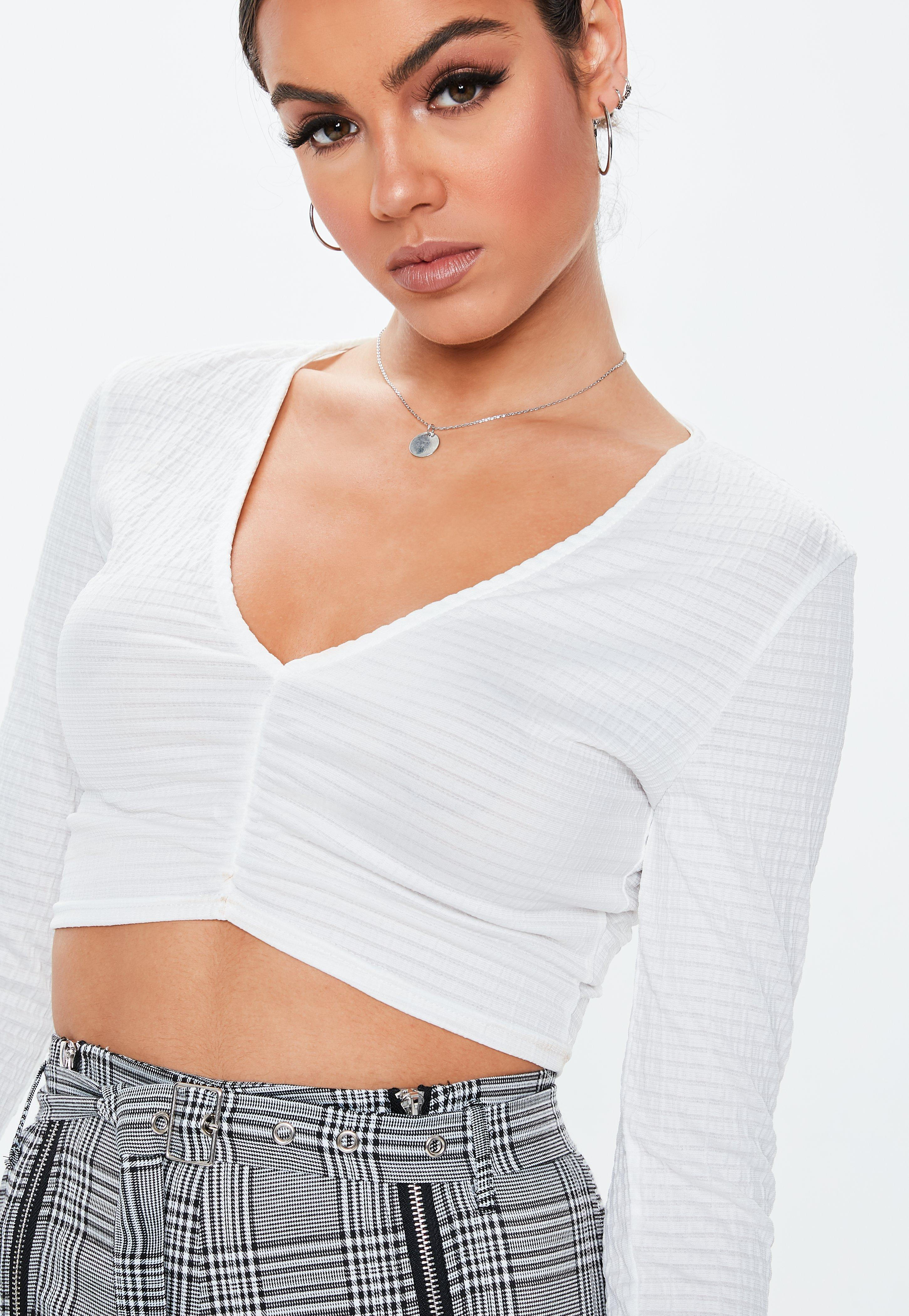 01c95e816e88e Missguided - White Ruched Front Crop Top - Lyst. View fullscreen