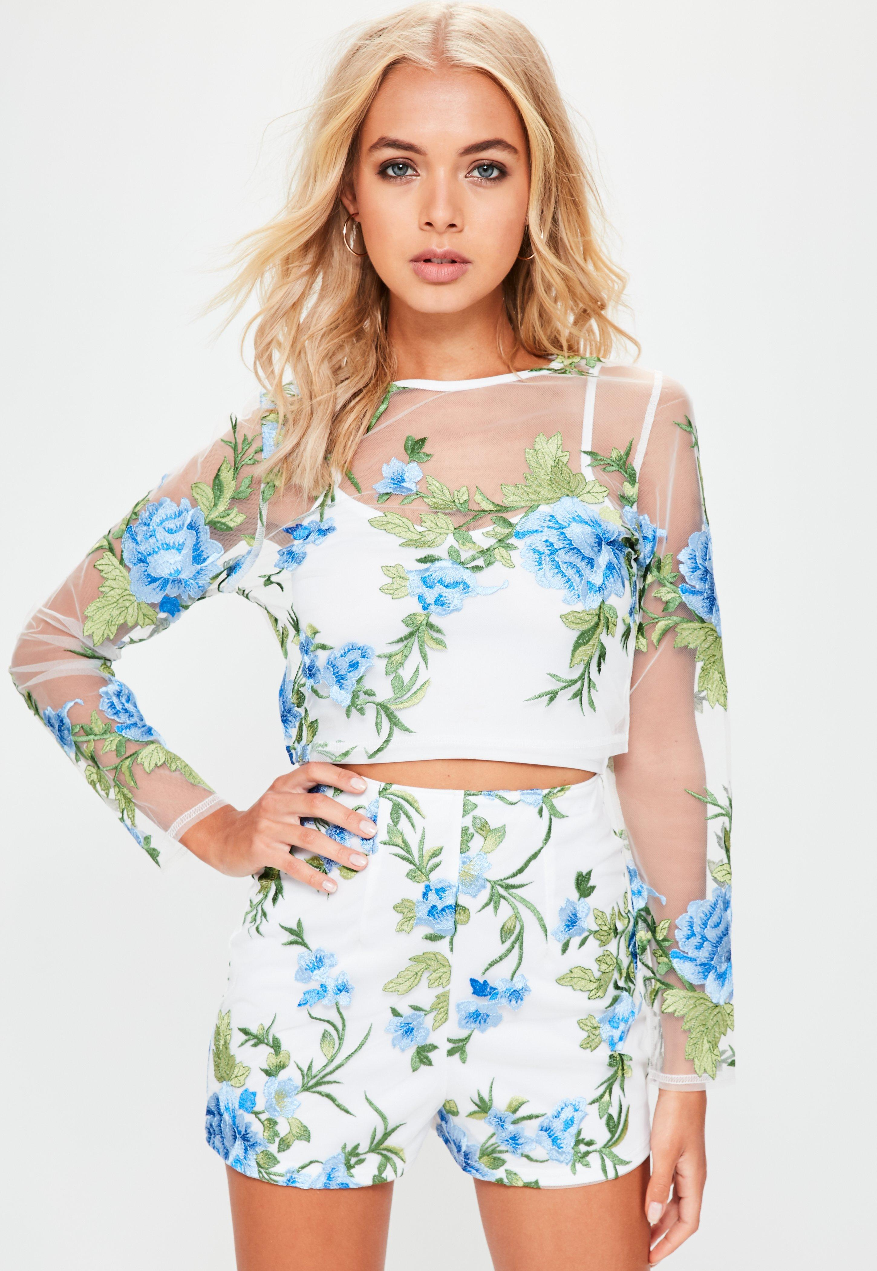 Missguided White Floral Mesh Embroidered Crop Top In White Lyst